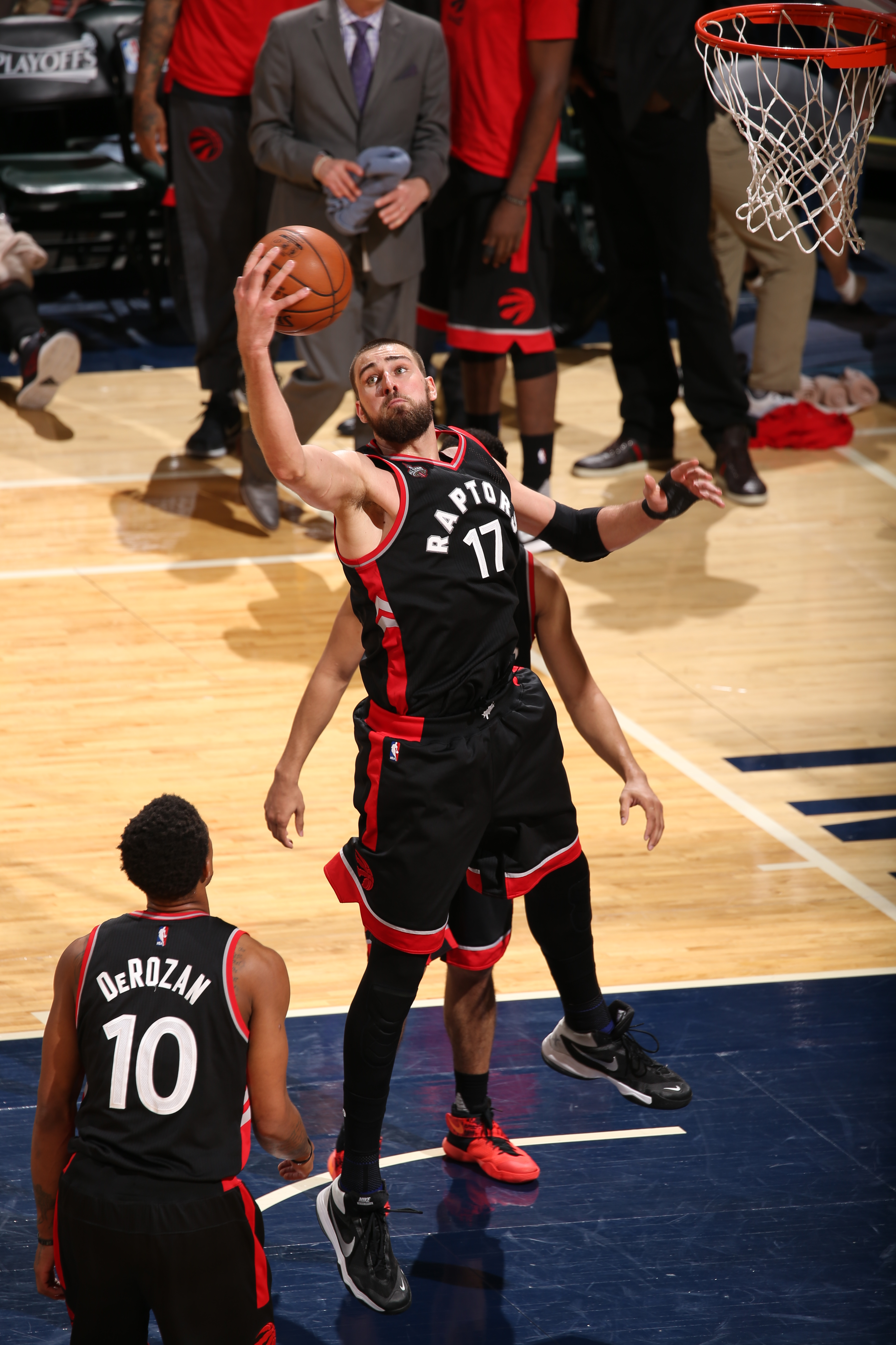 INDIANAPOLIS, IN - APRIL 21:  Jonas Valanciunas #17 of the Toronto Raptors grabs the rebound against the Indiana Pacers in Game Three of the Eastern Conference Quarterfinals during the 2016 NBA Playoffs on April 21, 2016 at Bankers Life Fieldhouse in Indi
