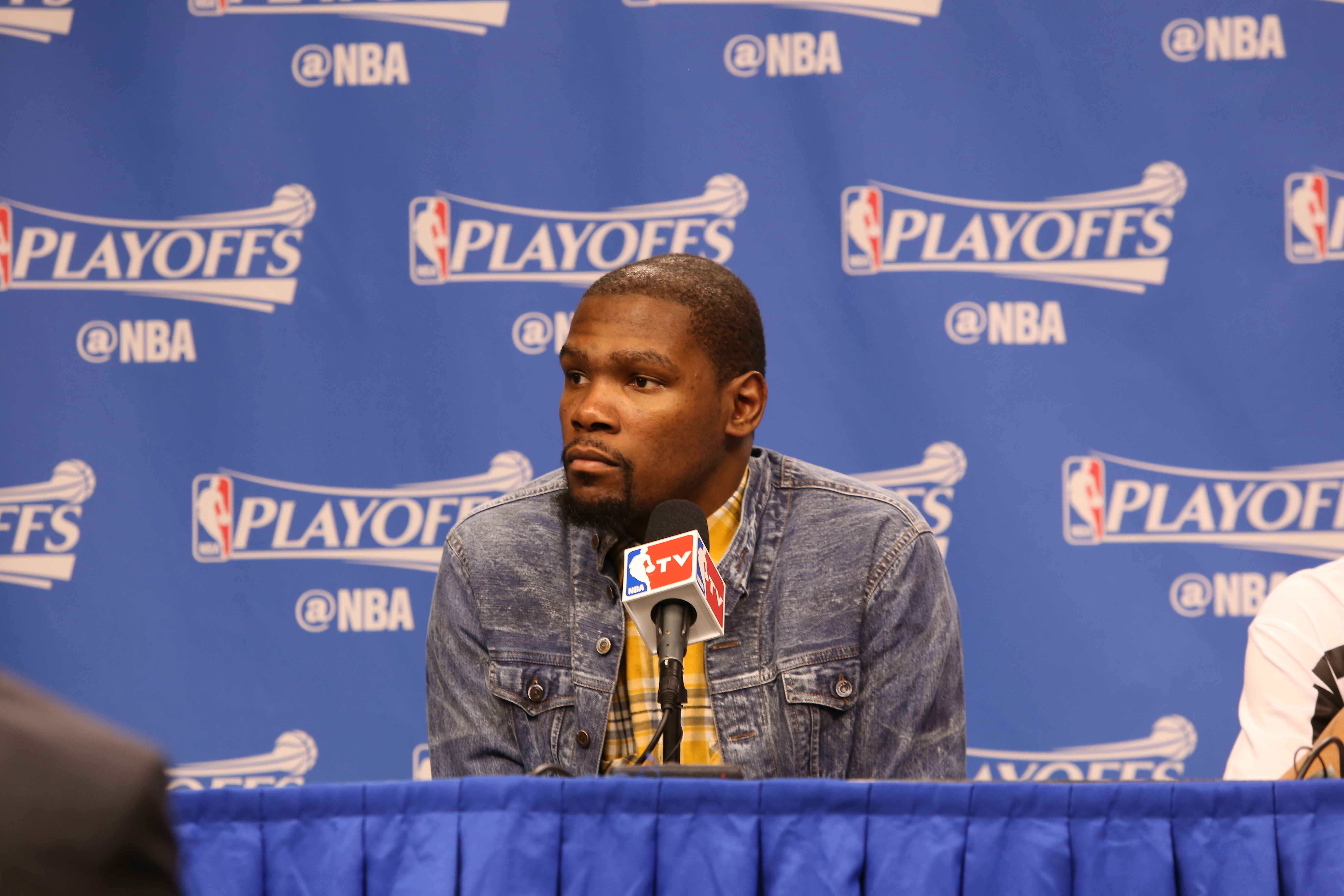 DALLAS, TX - APRIL 21: Kevin Durant #35 of the Oklahoma City Thunder speaks to the media after Game Three of the Western Conference Quarterfinals of the 2016 NBA Playoffs against the Dallas Mavericks on April 21, 2016 at the American Airlines Center in Da