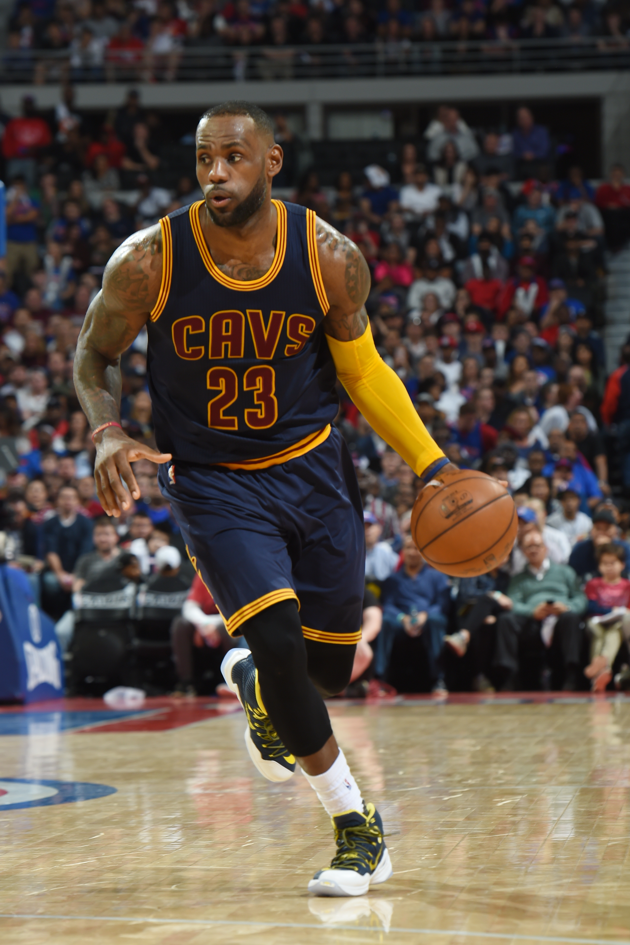 AUBURN HILLS, MI  - APRIL 22: LeBron James #23 of the Cleveland Cavaliers drives against the Detroit Pistons during Game Three of the Eastern Conference Quarterfinals during the 2016 NBA Playoffs against on April 22, 2016 at The Palace of Auburn Hills in