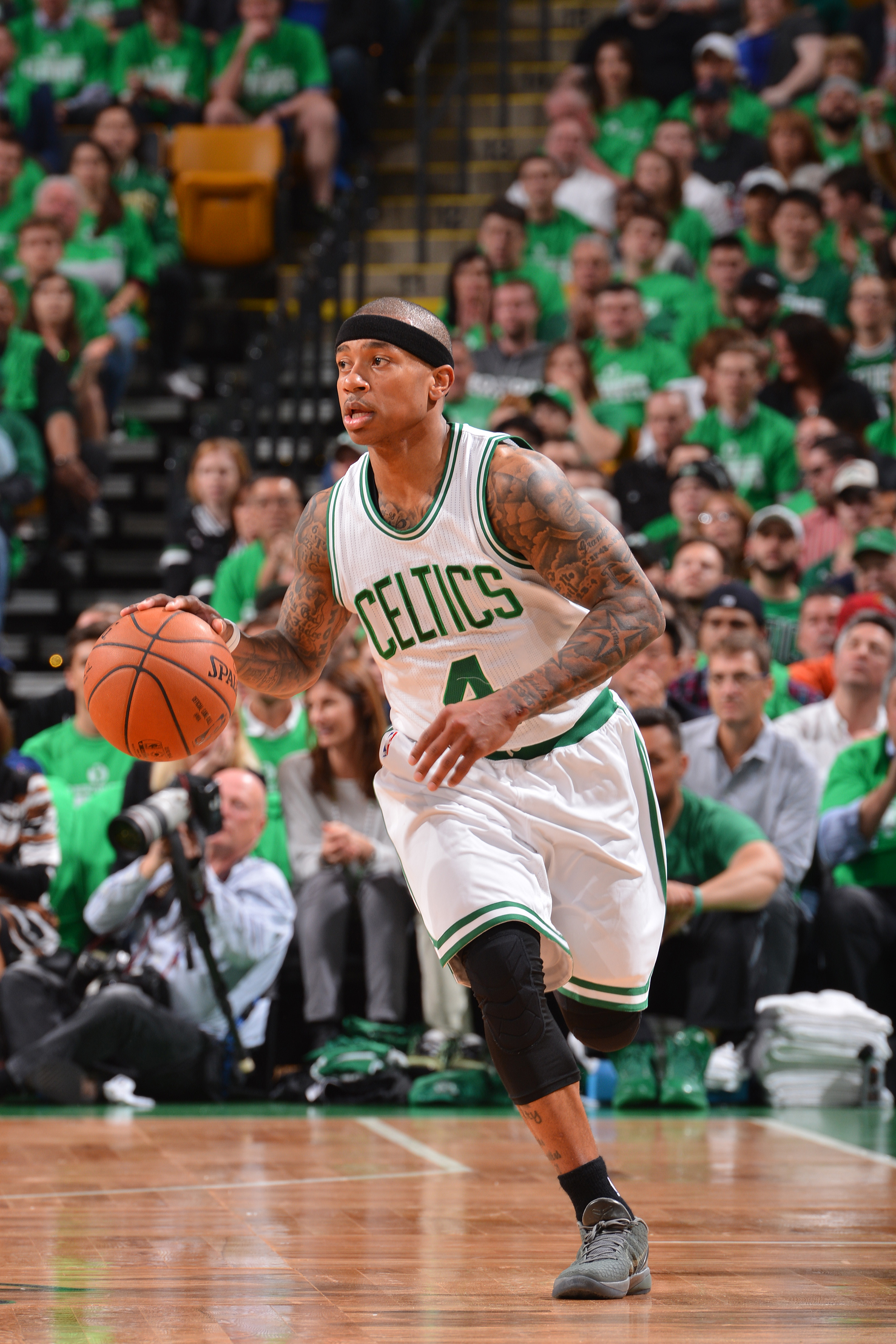BOSTON, MA - APRIL 22: Isaiah Thomas #4 of the Boston Celtics handles the ball against the Atlanta Hawks in Game Three of the Eastern Conference Quarterfinals of the 2016 NBA Playoffs on April 22, 2016 at the TD Garden in Boston, Massachusetts.   (Photo b