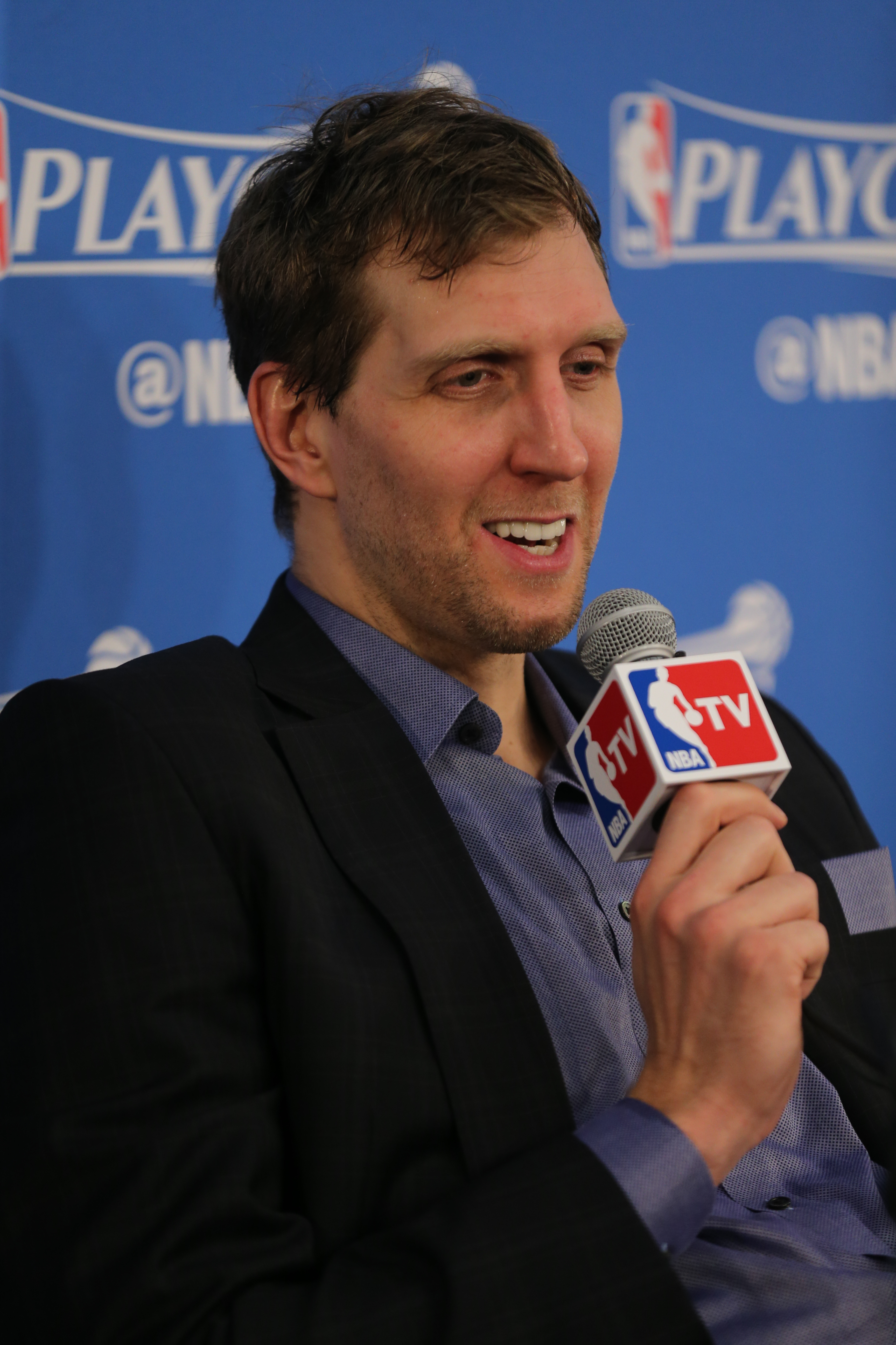 OKLAHOMA CITY, OK - APRIL 25:  Dirk Nowitzki #41 of the Dallas Mavericks speaks at a press conference after Game Five of the Western Conference Quarterfinals against the Oklahoma City Thunder during the 2016 NBA Playoffs on April 25, 2016 at Chesapeake En