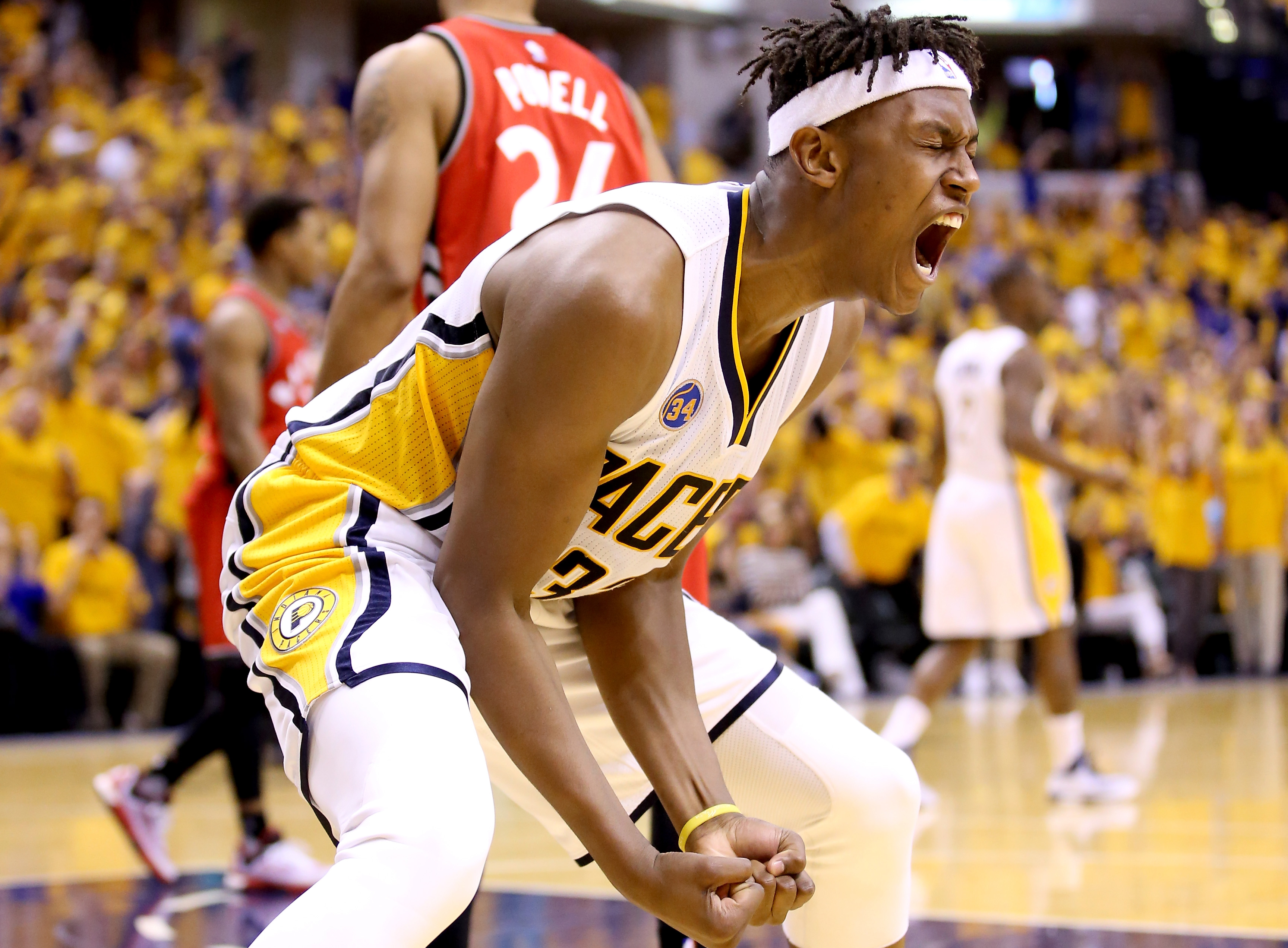 INDIANAPOLIS, IN - APRIL 29:  Myles Turner #33 of the Indiana Pacers celebrates during the 101-83 win over the Toronto Raptors in game six of the 2016 NBA Playoffs Eastern Conference Quarterfinals on April 29, 2016 in Indianapolis, Indiana.  (Photo by And