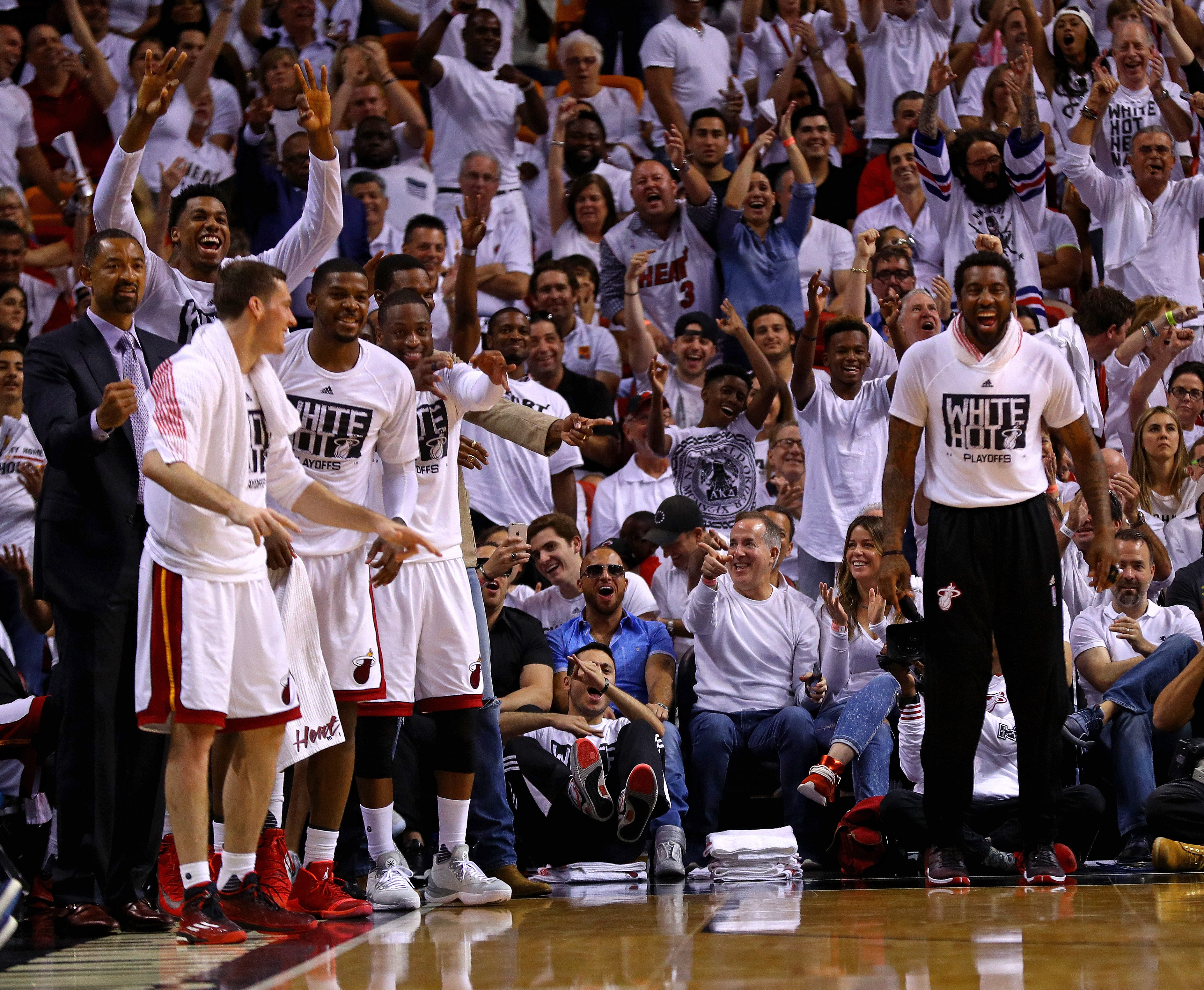 MIAMI, FL - MAY 01: Members of the Miami Heat celebrate during Game Seven of the Eastern Conference Quarterfinals of the 2016 NBA Playoffs at American Airlines Arena on May 1, 2016 in Miami, Florida. (Photo by Mike Ehrmann/Getty Images)