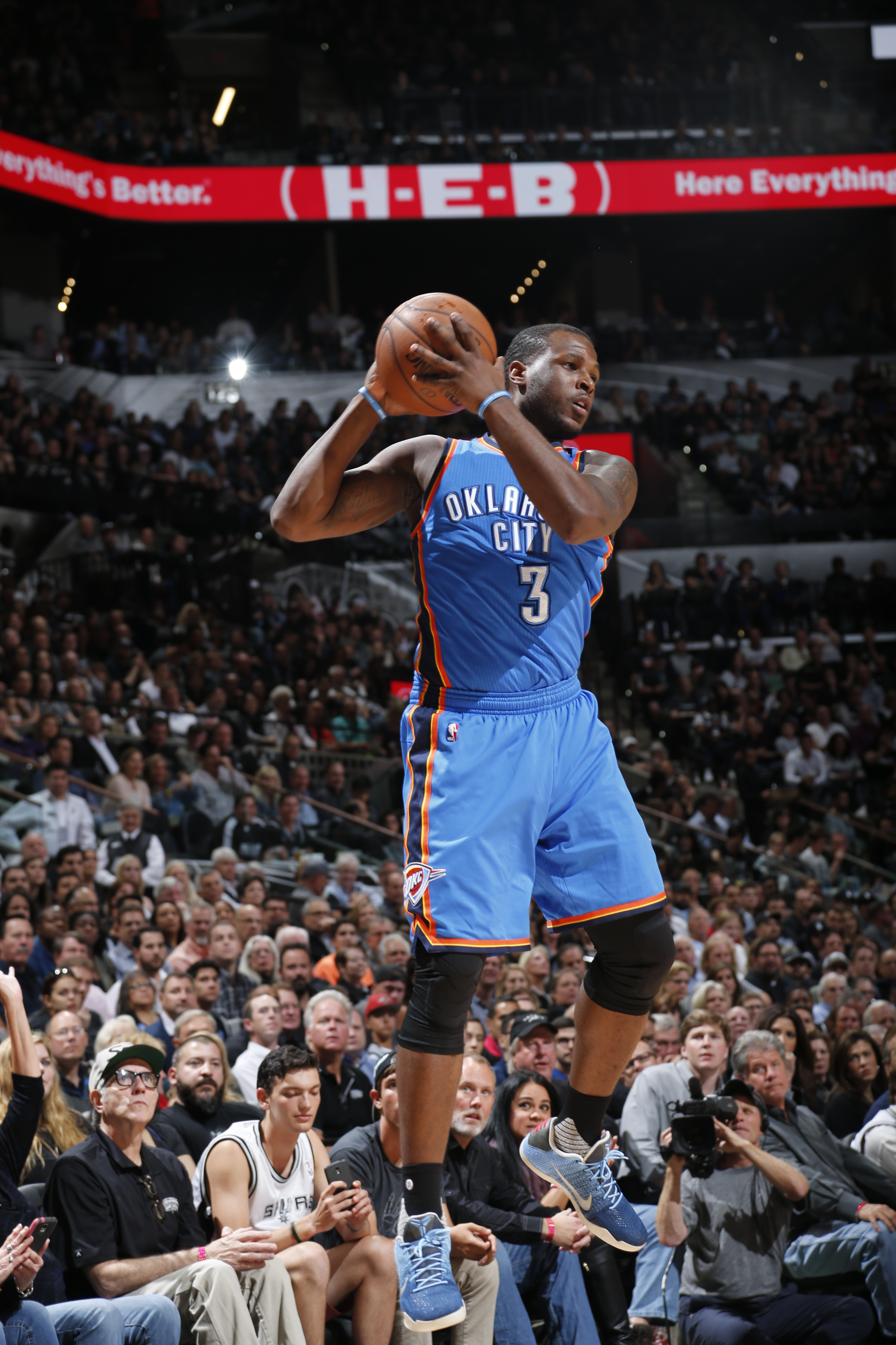 SAN ANTONIO, TX - MAY 2:  Dion Waiters #3 of the Oklahoma City Thunder handles the ball against the San Antonio Spurs in Game Two of the Western Conference Semifinals during the 2016 NBA Playoffs on May 2, 2016 at the AT&T Center in San Antonio, Texas.