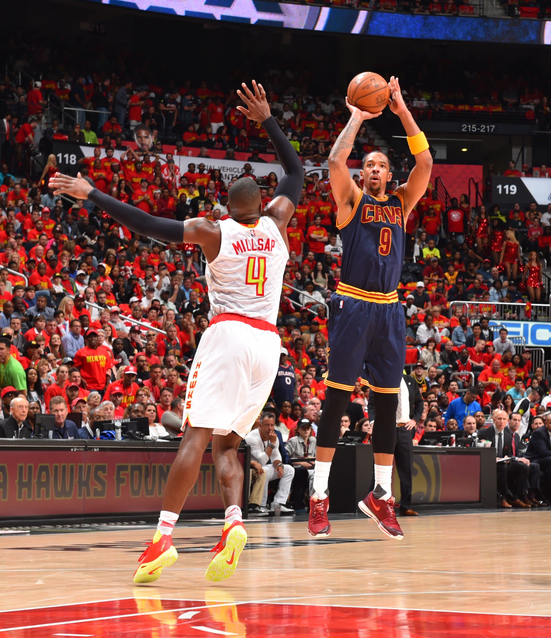 ATLANTA,GA - MAY 6 :  Channing Frye #9 of the Cleveland Cavaliers shoots the ball against the Atlanta Hawks during the Eastern Conference Semifinals Game Three on May 6, 2016 at The Philips Arena in Atlanta Georgia (Photo by Jesse D. Garrabrant/NBAE via G