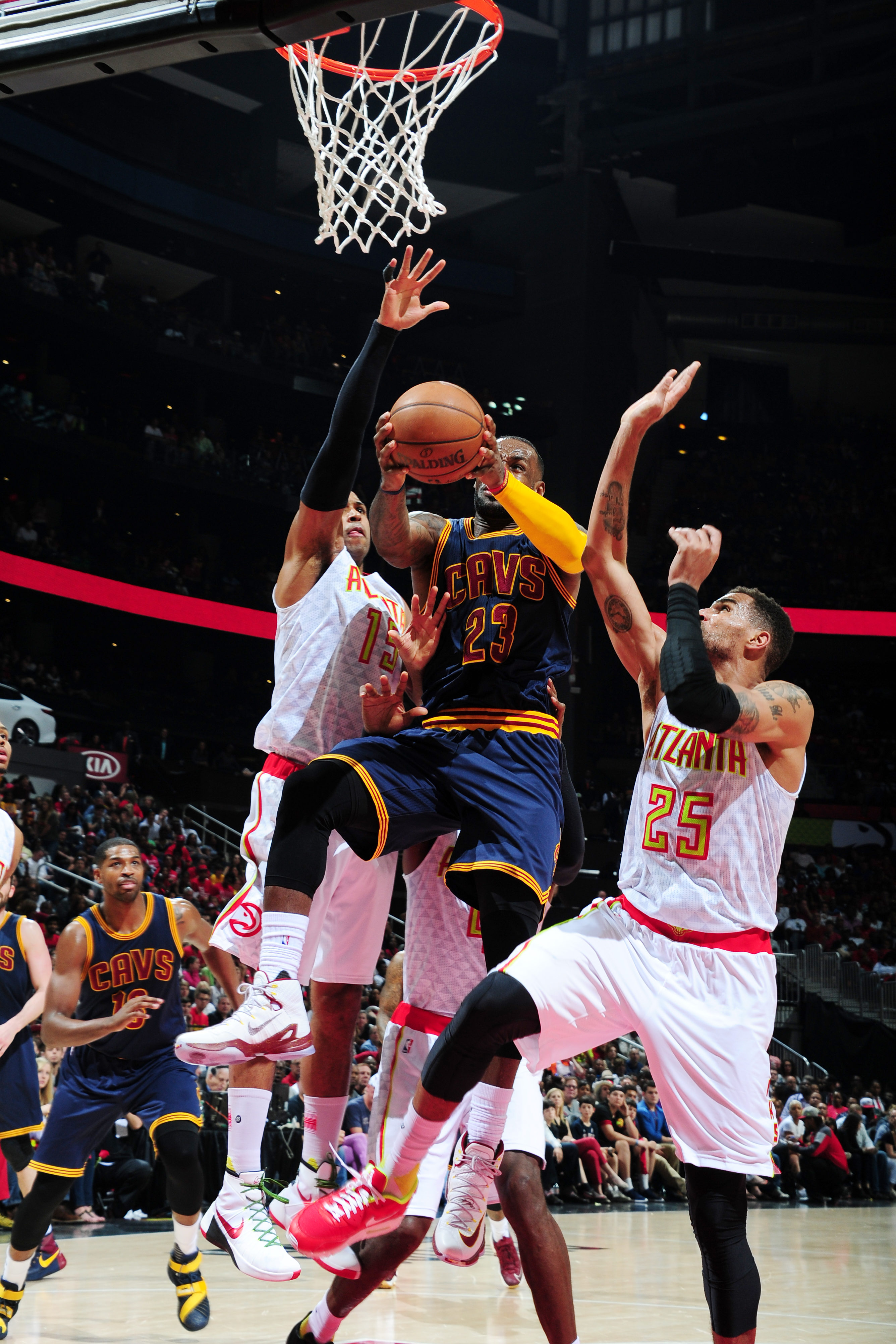 ATLANTA, GA - MAY 8: LeBron James #23 of the Cleveland Cavaliers goes for the lay up against the Atlanta Hawks during Game Three of the Eastern Conference Semifinals during the 2016 NBA Playoffs on May 8, 2016 at Philips Arena in Cleveland, Ohio. (Photo b