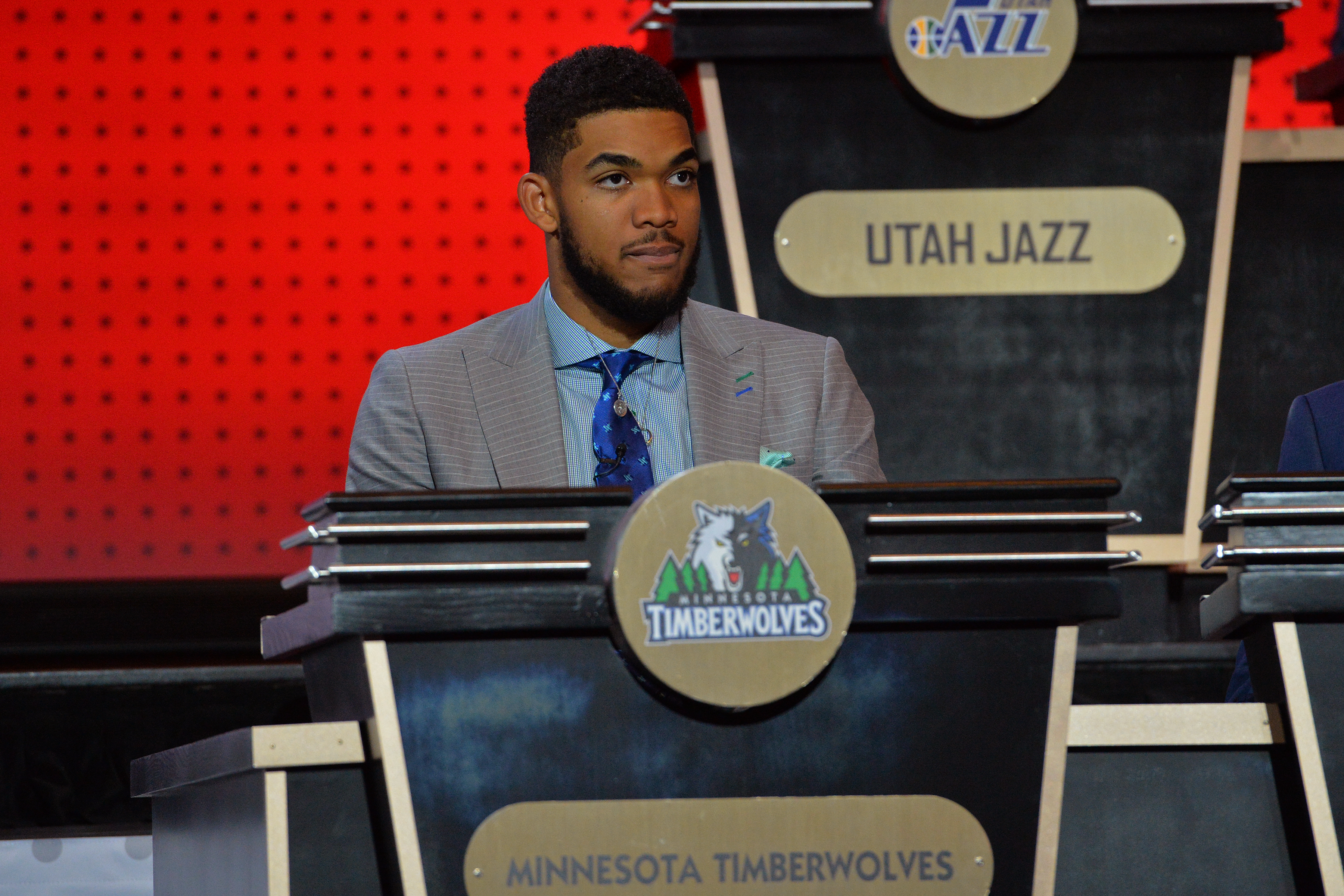 NEW YORK, NEW YORK - MAY 17:  Karl Anthony-Towns #32 of the Minnesota Timberwolves poses for a photo in his seat during the 2016 NBA Draft Lottery at the New York Hilton in New York, New York. (Photo by Jesse D. Garrabrant/NBAE via Getty Images)