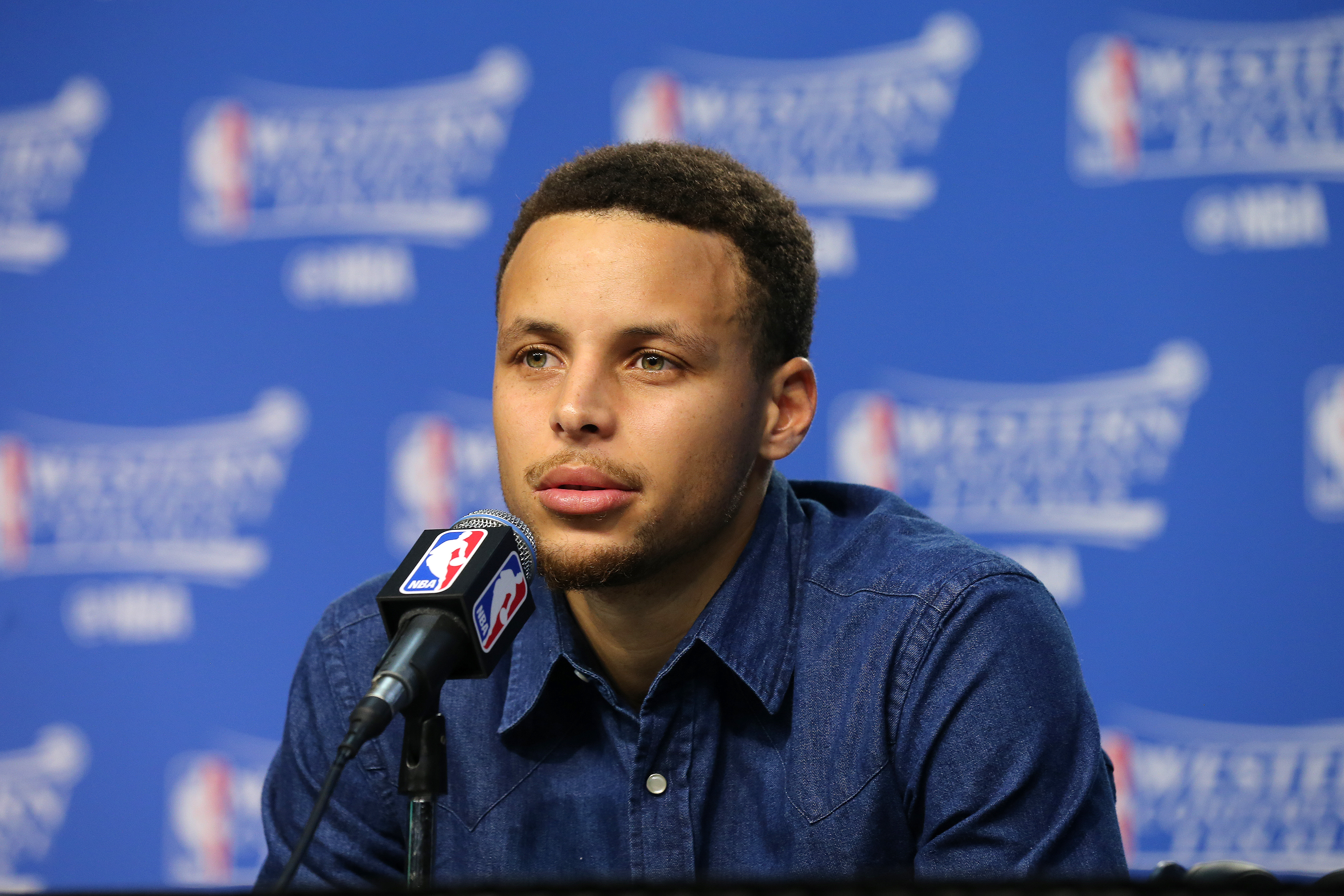 OKLAHOMA CITY, OK- MAY 24: Stephen Curry #30 of the Golden State Warriors talks with the press after the game against the Oklahoma City Thunder in Game Four of the Western Conference Finals during the 2016 NBA Playoffs on May 24, 2016 at Chesapeake Energy