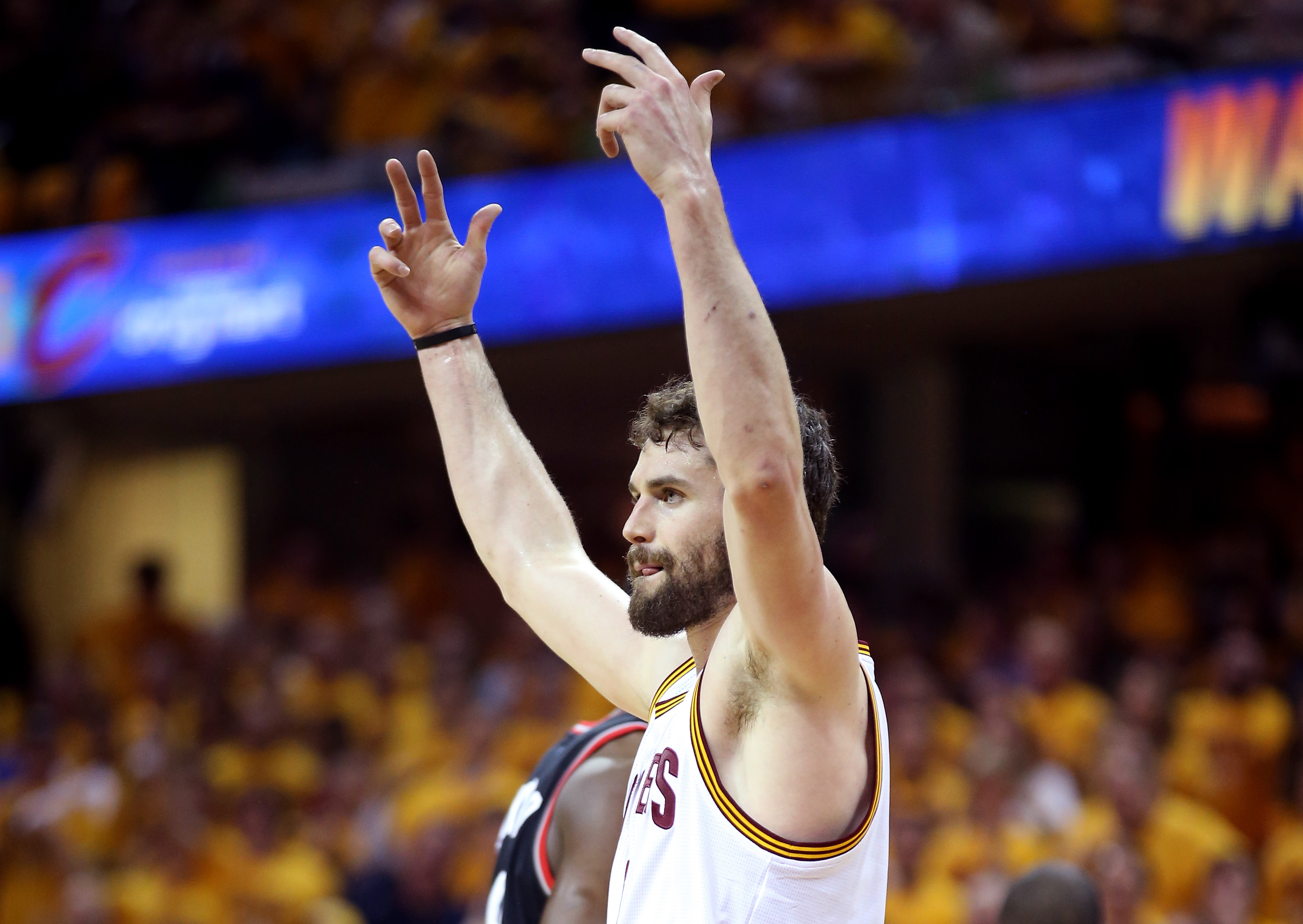 CLEVELAND, OH - MAY 25:  Kevin Love #0 of the Cleveland Cavaliers reacts in the first quarter against the Toronto Raptors in game five of the Eastern Conference Finals during the 2016 NBA Playoffs at Quicken Loans Arena on May 25, 2016 in Cleveland, Ohio.