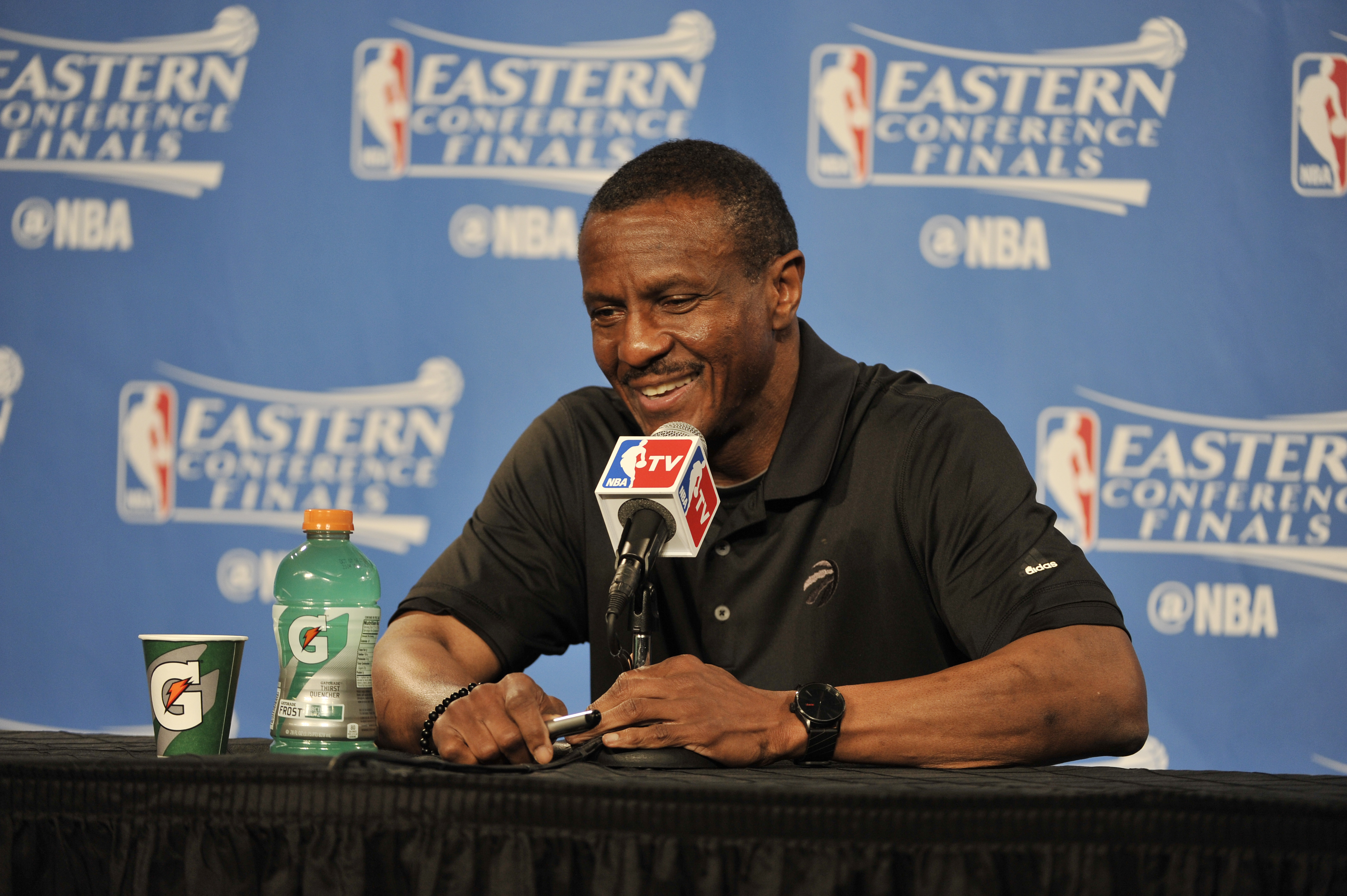 CLEVELAND, OH - MAY 25: Dwane Casey of the Toronto Raptors talks to the media after the game against the Cleveland Cavaliers in Game Five of the Eastern Confernce Finals of the 2016 NBA Playoffs on May 25, 2016 at The Quicken Loans Arena in Cleveland, Ohi