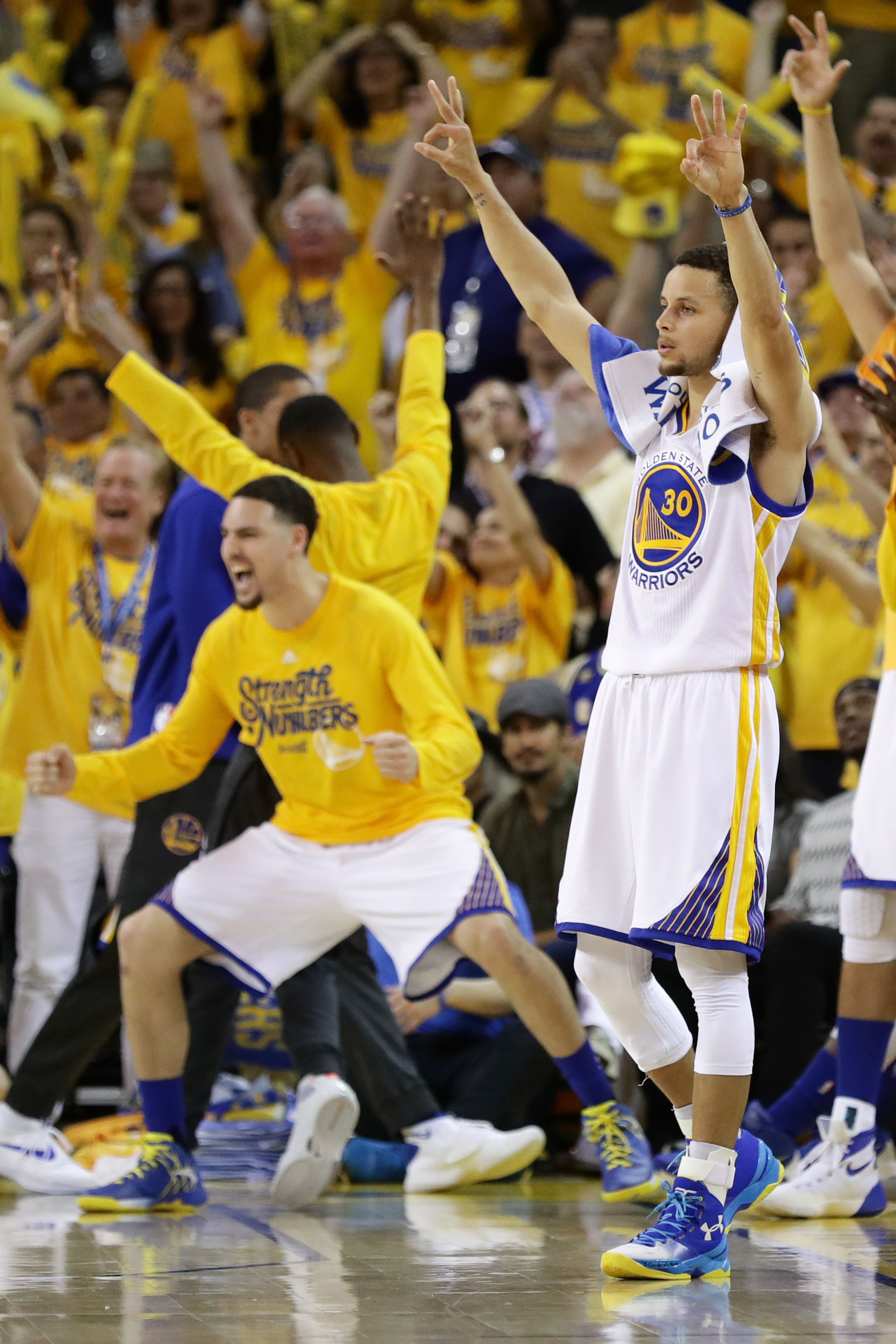 OAKLAND, CA - MAY 26:  Stephen Curry #30 of the Golden State Warriors reacts to a score against the Oklahoma City Thunder during Game Five of the Western Conference Finals during the 2016 NBA Playoffs at ORACLE Arena on May 26, 2016 in Oakland, California