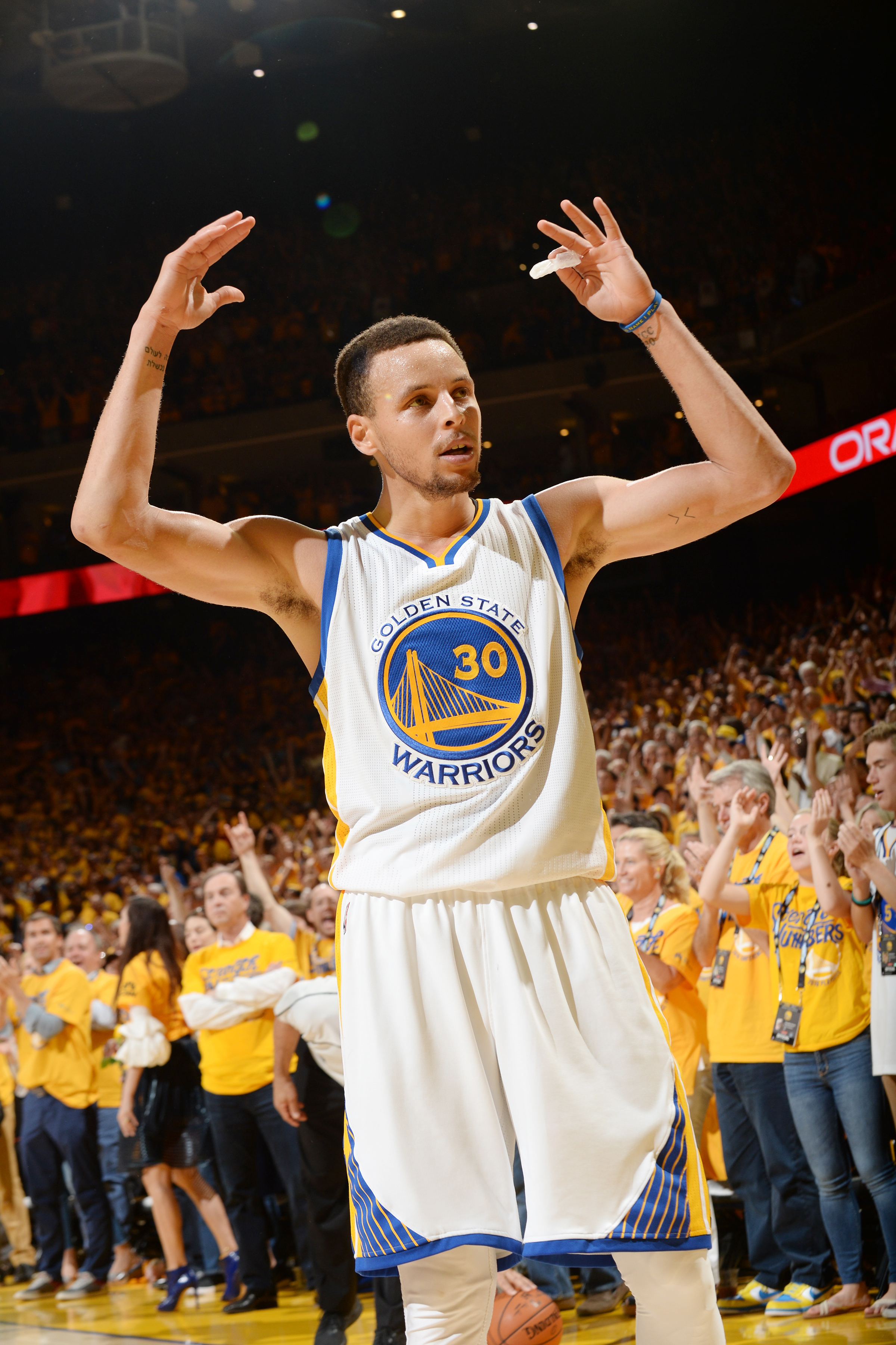 OAKLAND, CA - MAY 30:  Stephen Curry #30 of the Golden State Warriors pumps up the crowd during the game against the Oklahoma City Thunder in Game Seven of the Western Conference Finals during the 2016 NBA Playoffs on May 30, 2016 at ORACLE Arena in Oakla
