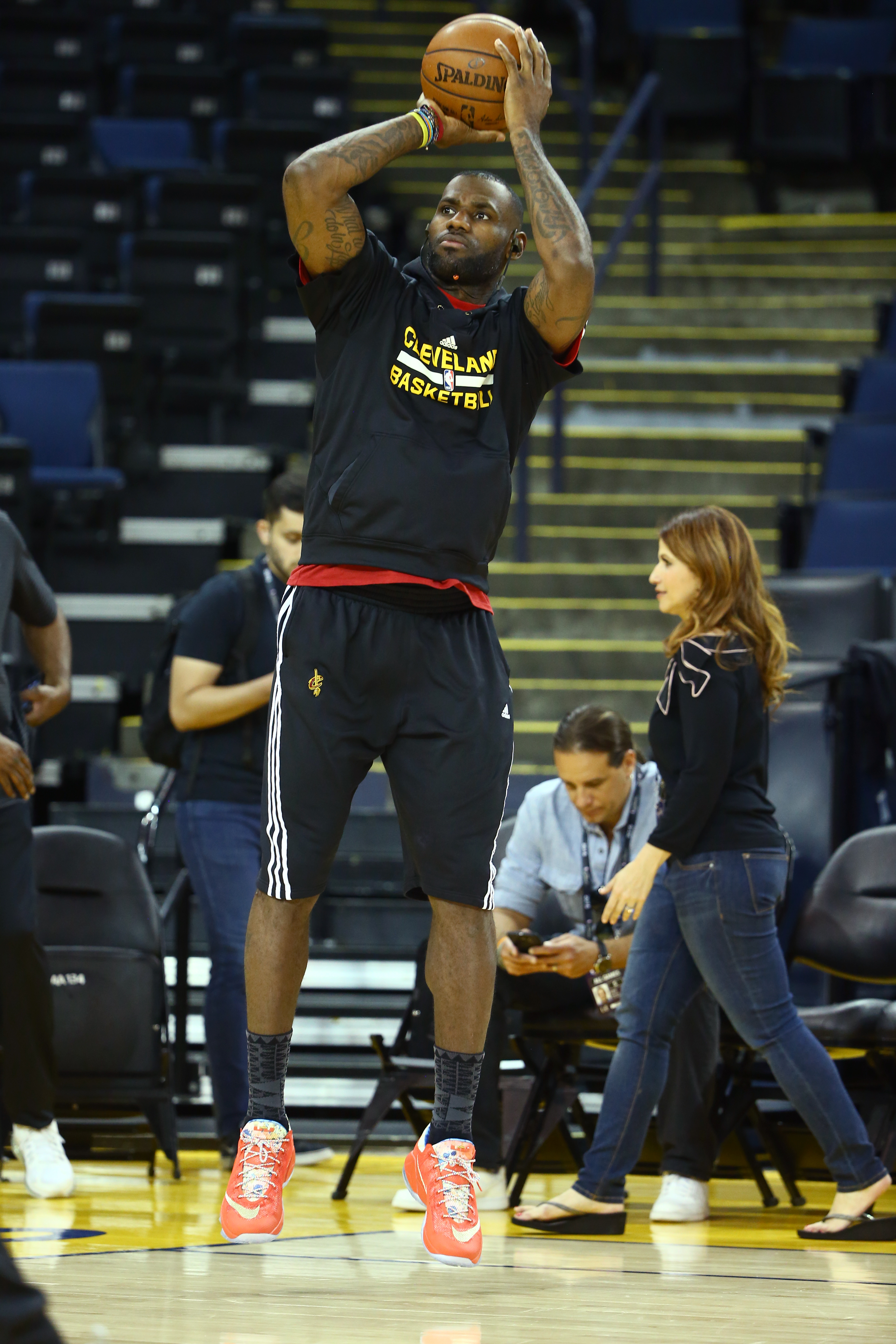 OAKLAND, CA - JUNE 3: LeBron James of the Cleveland Cavaliers shoots during practice and media availability as part of the 2016 NBA Finals on June 3, 2016 at ORACLE Arena in Oakland, California. (Photo by Nathaniel S.Butler/NBAE via Getty Images)