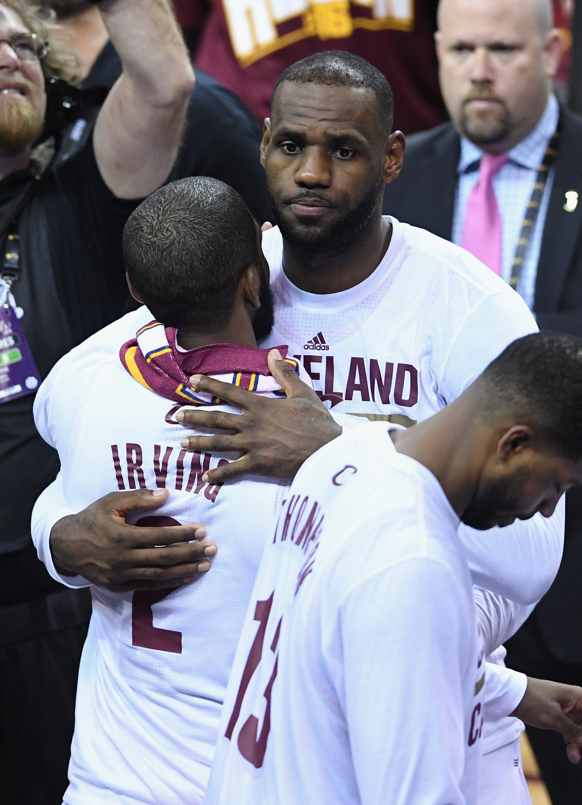 CLEVELAND, OH - JUNE 08:  Kyrie Irving #2 of the Cleveland Cavaliers celebrates with LeBron James #23 after defeating the Golden State Warriors 120-90 in Game 3 of the 2016 NBA Finals at Quicken Loans Arena on June 8, 2016 in Cleveland, Ohio. (Photo by Ja