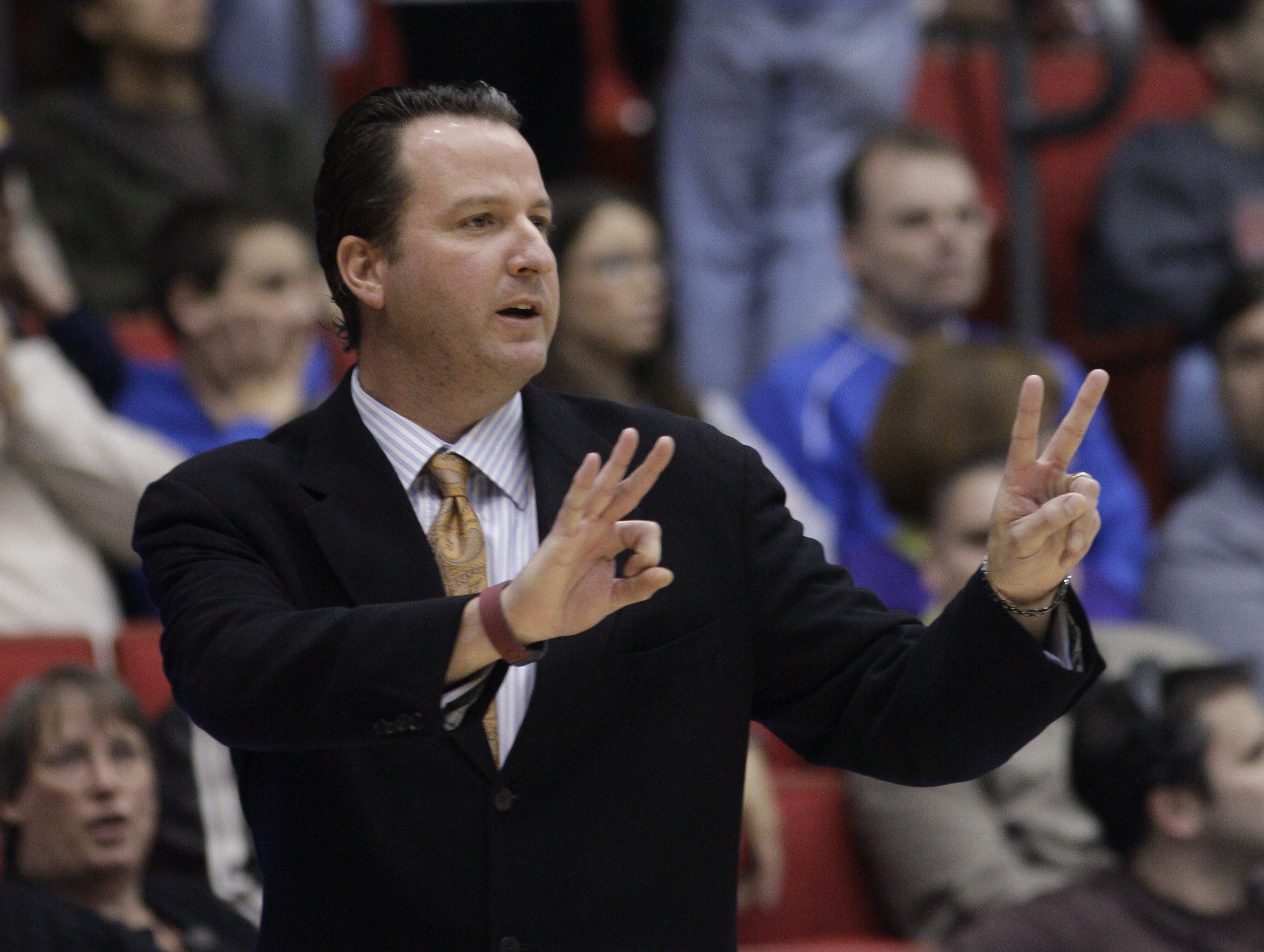 Texas-San Antonio head coach Brooks Thompson in action against Alabama State in a first-round NCAA college basketball tournament game, Wednesday, March 16, 2011, in Dayton, Ohio. (AP Photo)