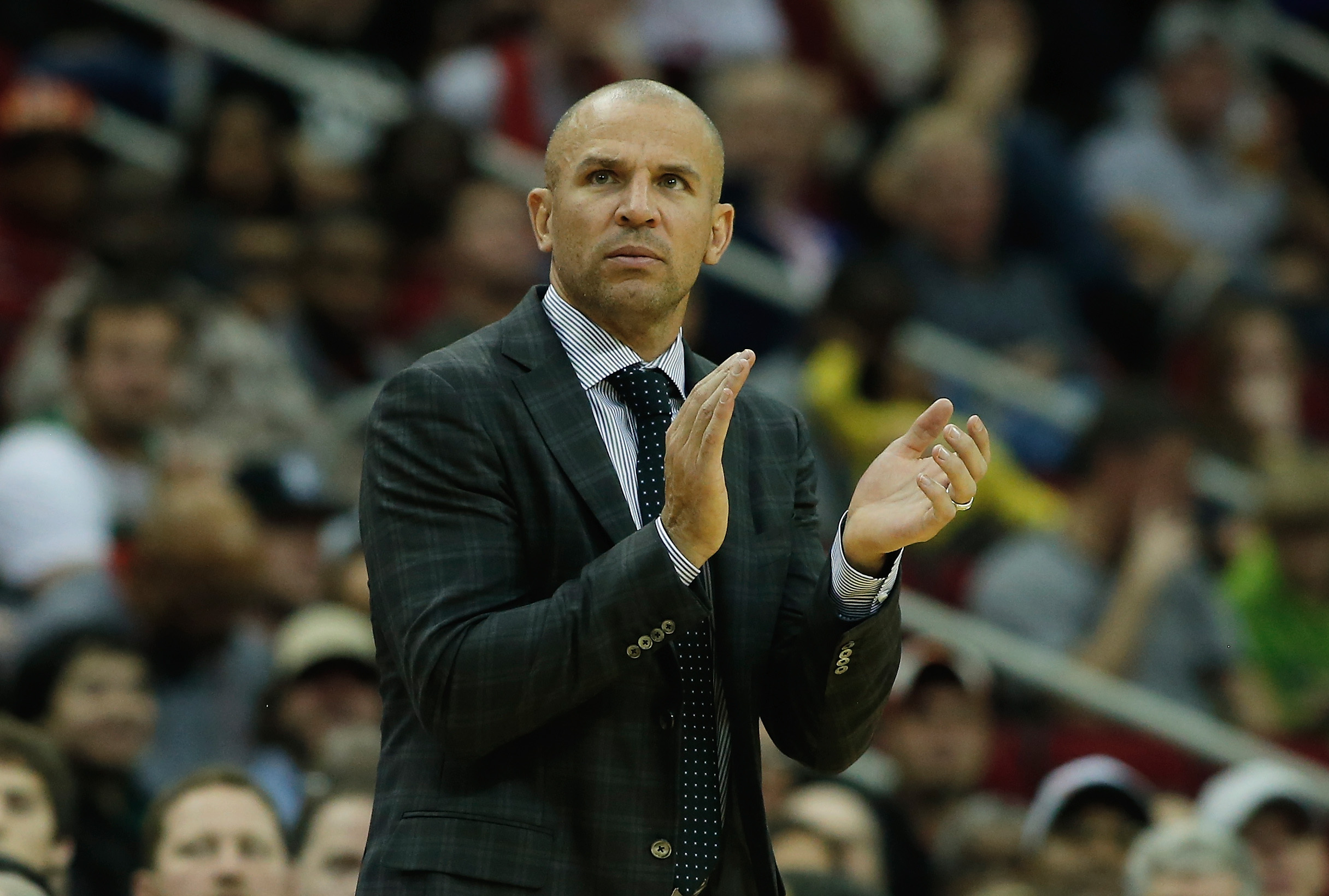HOUSTON, TX - NOVEMBER 29:   Jason Kidd of the Brooklyn Nets watches a play against the Houston Rockets during the game at Toyota Center on November 29, 2013 in Houston, Texas. (Photo by Scott Halleran/Getty Images)