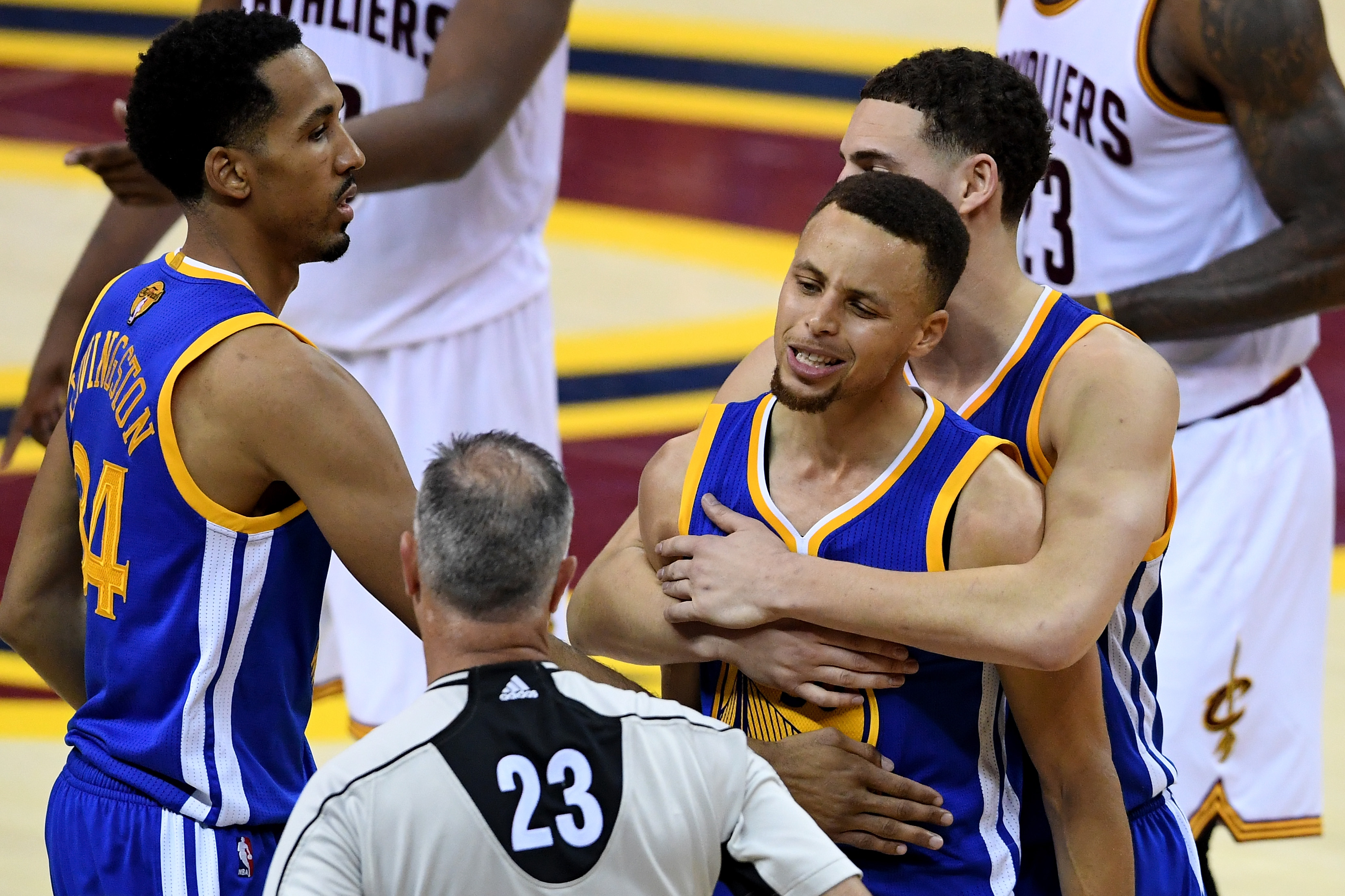 CLEVELAND, OH - JUNE 16:  Stephen Curry #30 of the Golden State Warriors reacts to a foul call during the fourth quarter against the Cleveland Cavaliers in Game 6 of the 2016 NBA Finals at Quicken Loans Arena on June 16, 2016 in Cleveland, Ohio. (Photo by