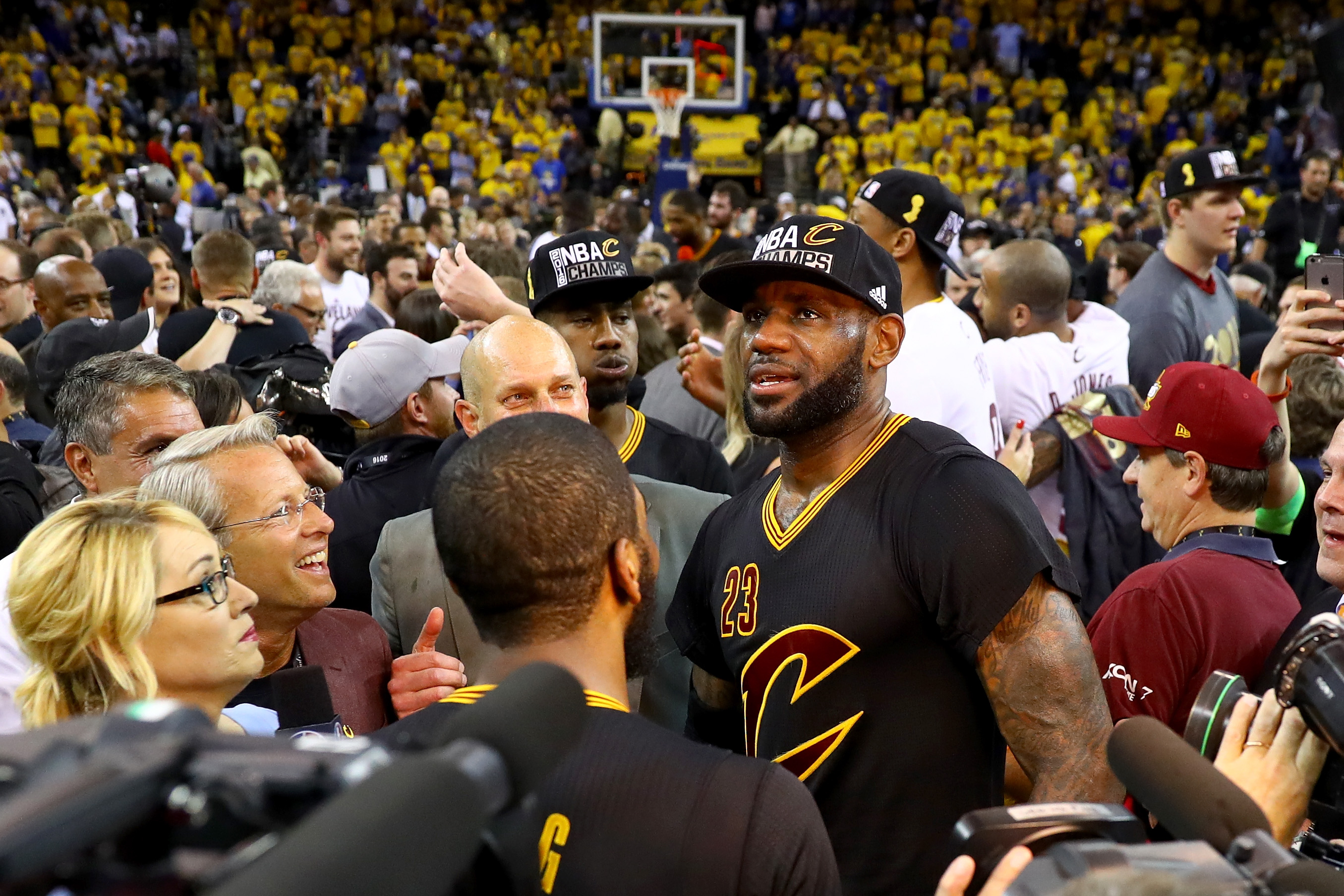 OAKLAND, CA - JUNE 19:  LeBron James #23 of the Cleveland Cavaliers celebrates after defeating the Golden State Warriors 93-89 in Game 7 of the 2016 NBA Finals at ORACLE Arena on June 19, 2016 in Oakland, California. (Photo by Ezra Shaw/Getty Images)