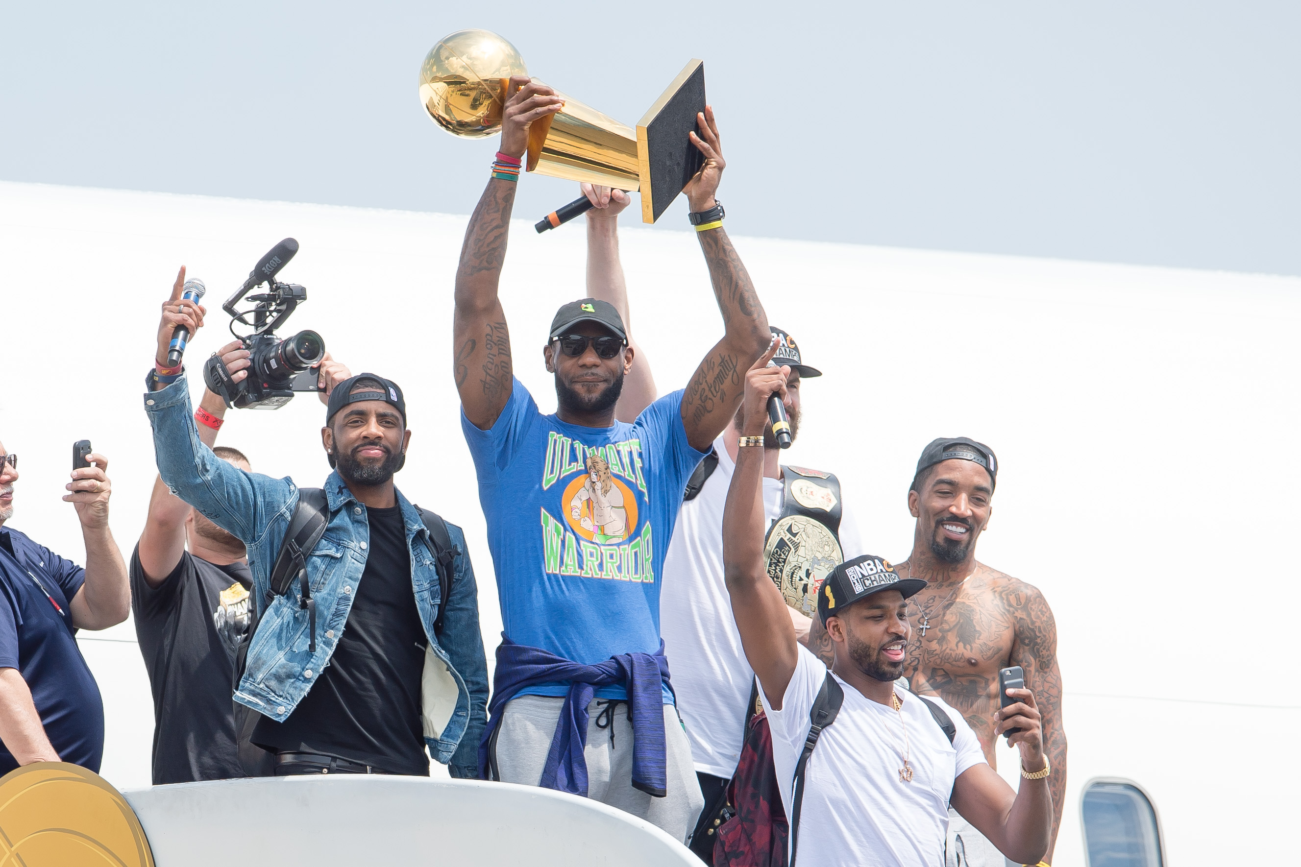 CLEVELAND, OH -  JUNE 20: Kyrie Irving #2, LeBron James #23, Tristan Thompson #13, Kevin Love #0 and J.R. Smith #5 of the Cleveland Cavaliers return to Cleveland after wining the NBA Championships on June 20, 2016 in Cleveland, Ohio. (Photo by Jason Mille