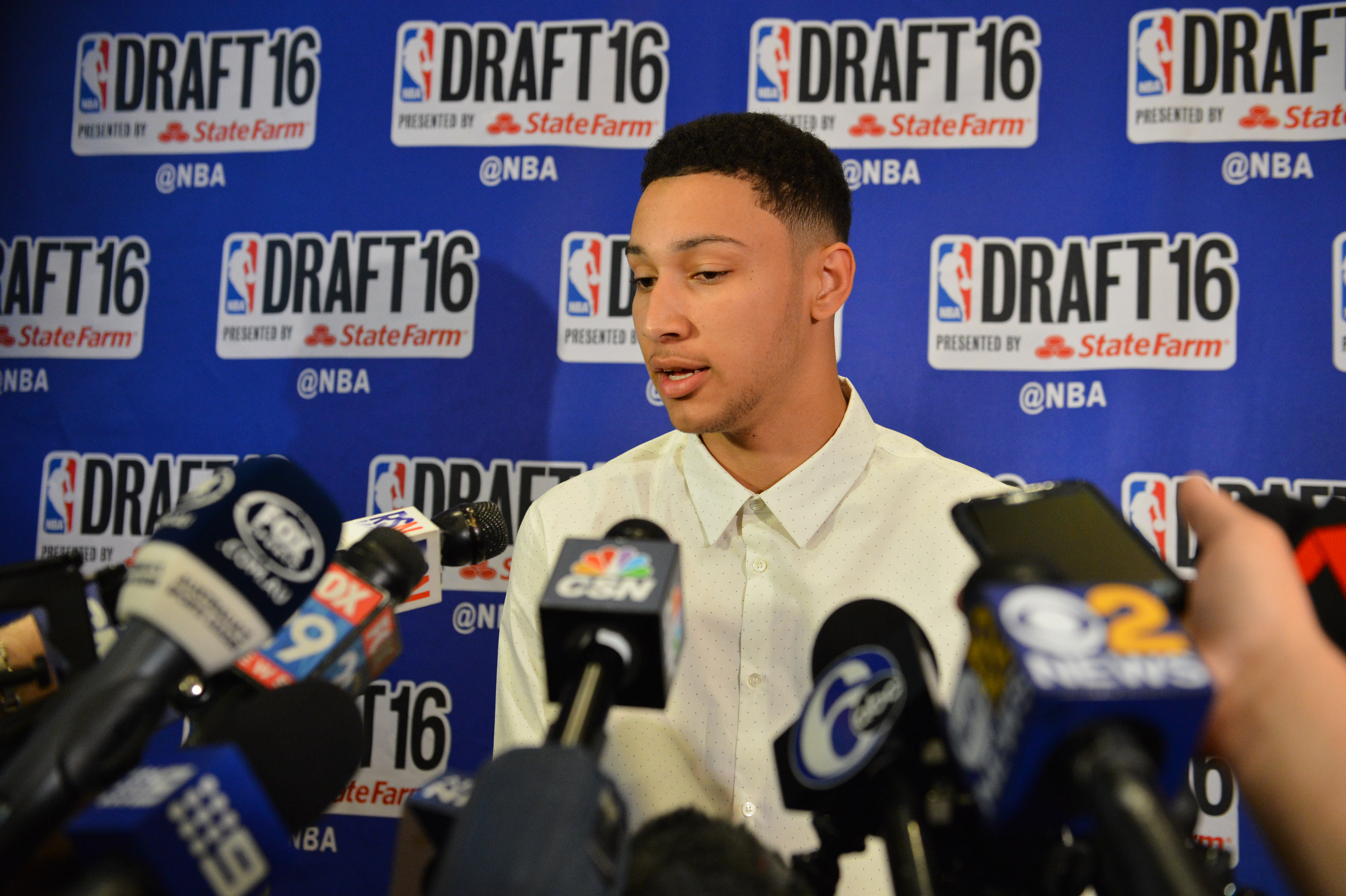 NEW YORK - JUNE 22: NBA Draft Prospect, Ben Simmons speaks to the media during media availability as part of the 2016 NBA Draft on June 22, 2016 at the Grand Hyatt New York in New York City. (Photo by David Dow/NBAE via Getty Images)
