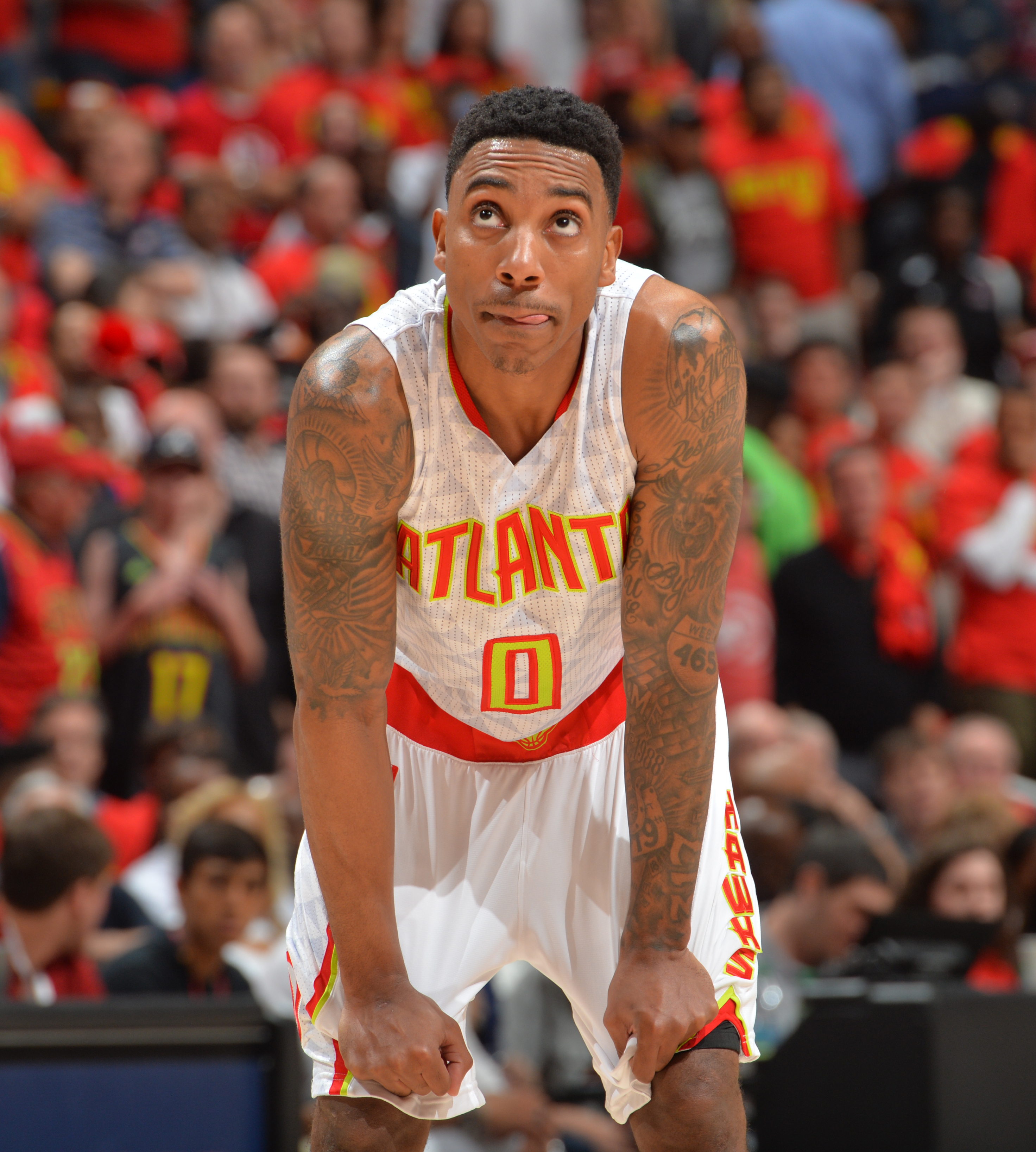 ATLANTA,GA - MAY 6 :  Jeff Teague #0 of the Atlanta Hawks looks on against the Cleveland Cavaliers during the Eastern Conference Semifinals Game Three on May 6, 2016 at The Philips Arena in Atlanta Georgia (Photo by Jesse D. Garrabrant/NBAE via Getty Imag