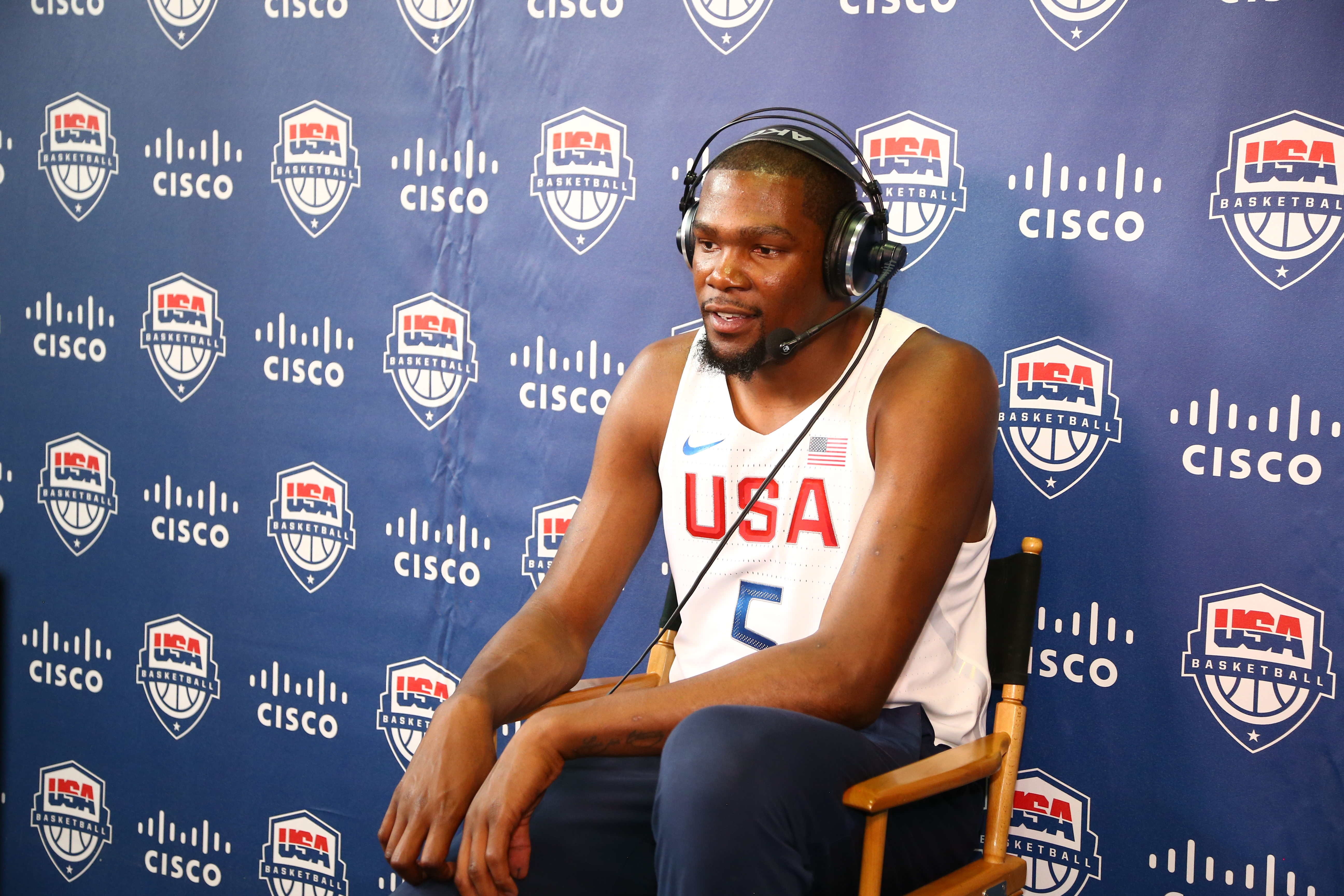 NEW YORK, NY - JUNE 27:  Kevin Durant #5 of the 2016 USA Men's Senior National Basketball Team is interviewed during a press conference at Dunleavy Milbank Center on June 27, 2016 in New York City. (Photo by Nathaniel S. Butler/NBAE via Getty Images)