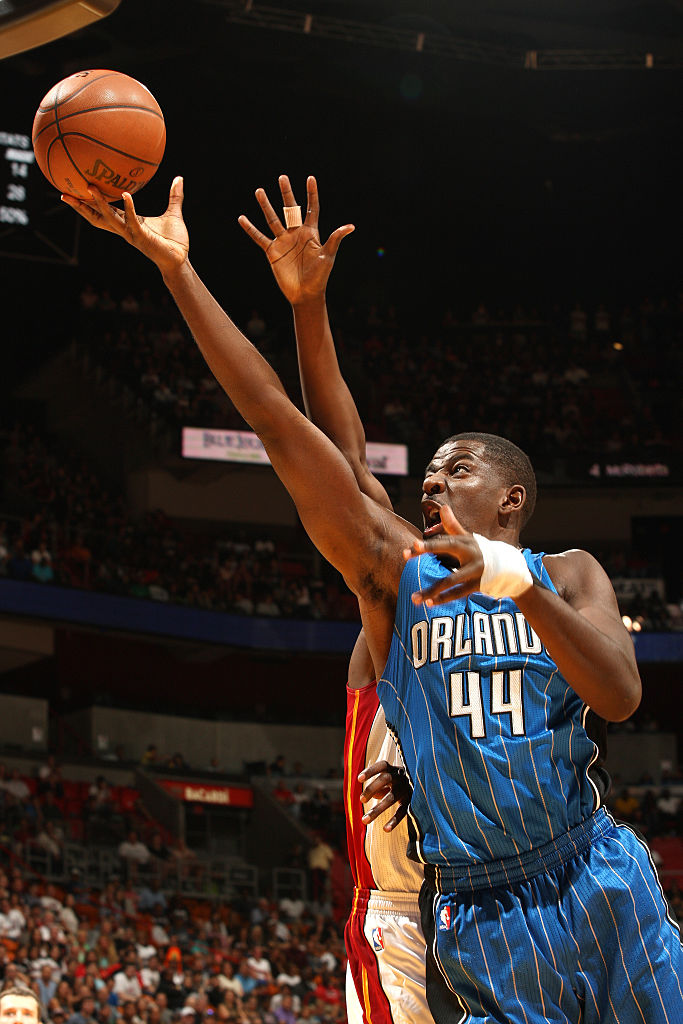 MIAMI, FL - APRIL 10: Andrew Nicholson #44 of the Orlando Magic shoots a layup during the game against the Miami Heat on April 10, 2016 at American Airlines Arena in Miami, Florida.  (Photo by Oscar Baldizon/NBAE via Getty Images)