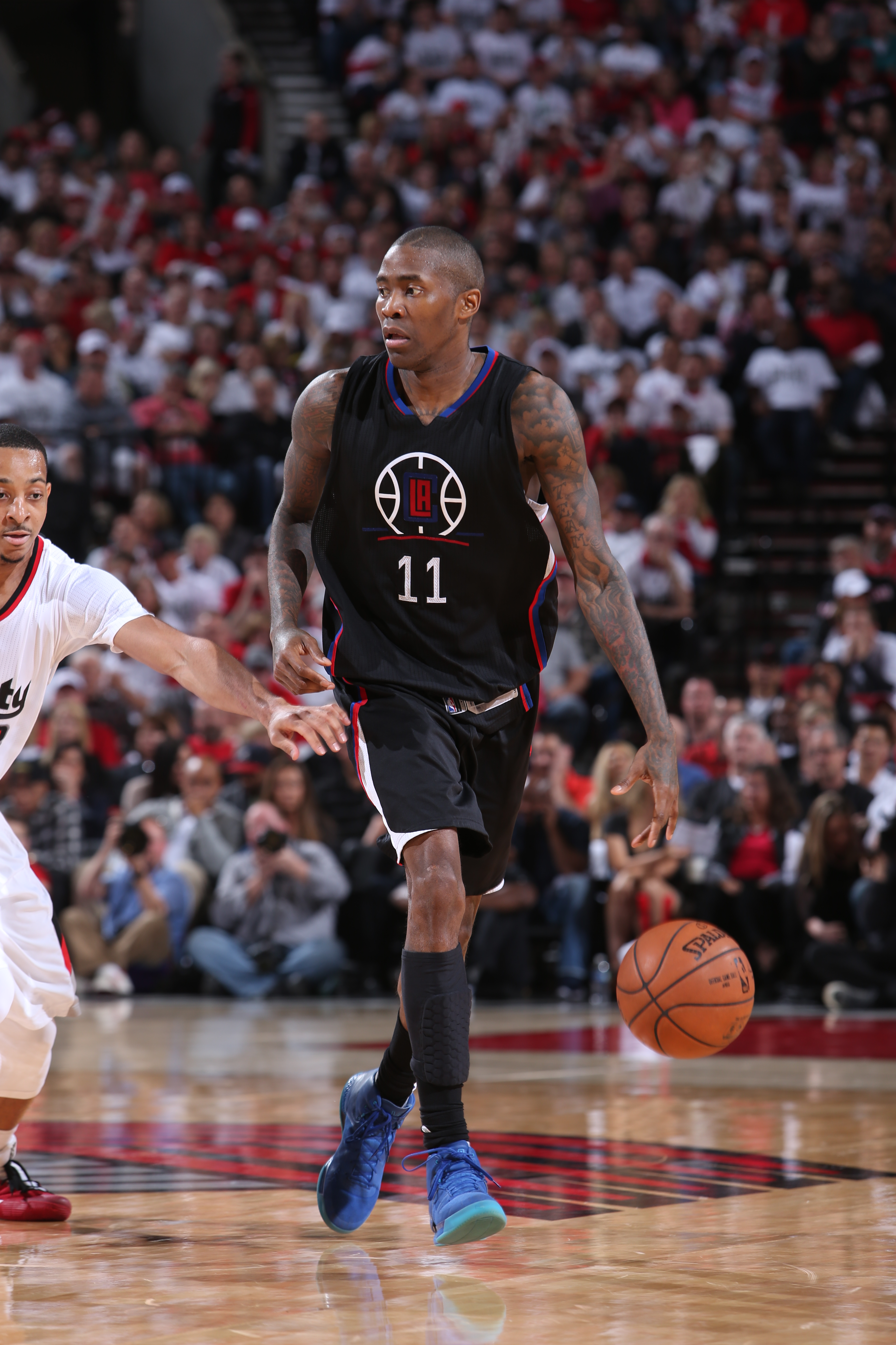 PORTLAND, OR - APRIL 29:  Jamal Crawford #11 of the Los Angeles Clippers handles the ball against the Portland Trail Blazers in Game Six of the Western Conference Quarterfinals during the 2016 NBA Playoffs on April 29, 2016 at the Moda Center Arena in Por