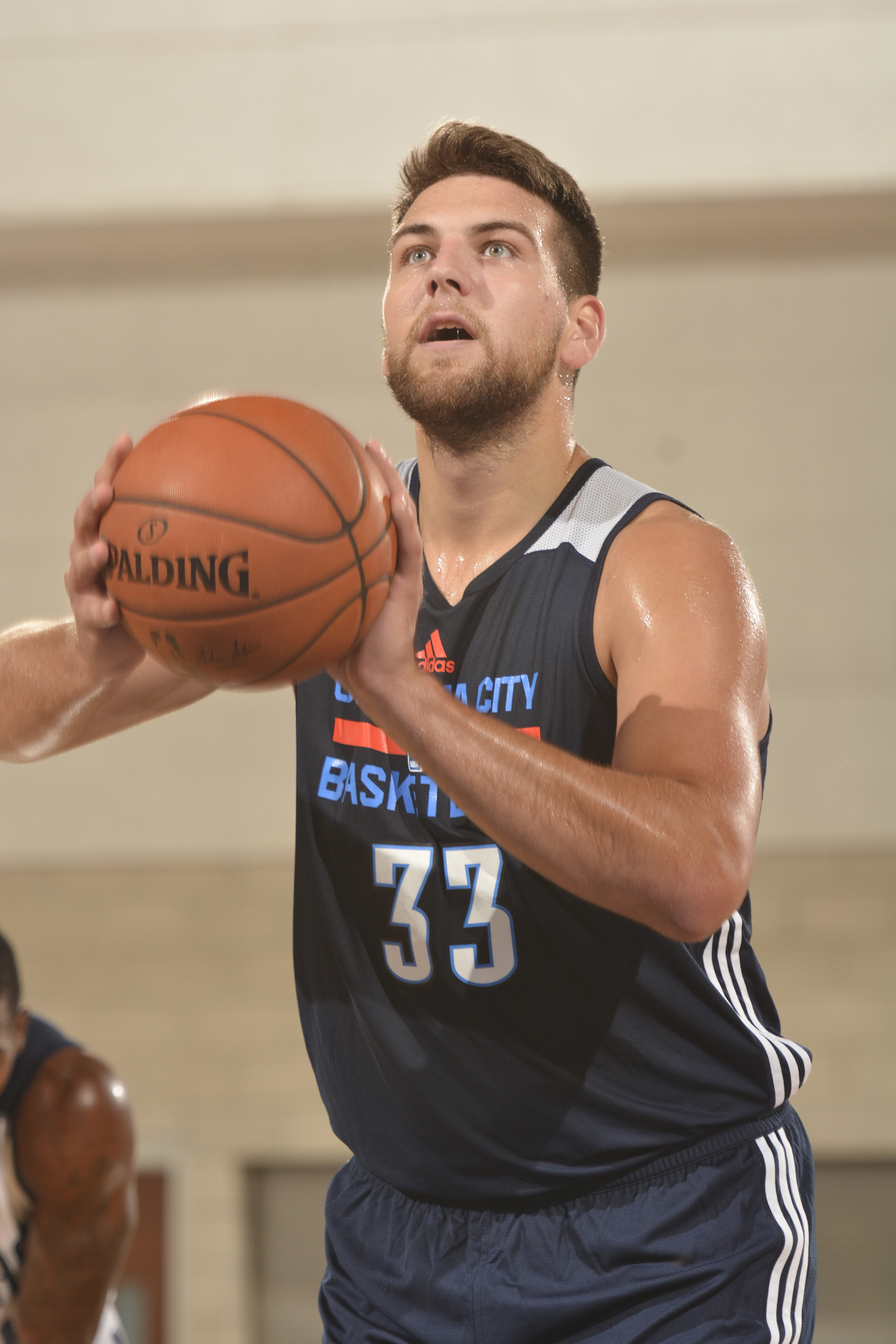 ORLANDO, FL - JULY 2: Mitch McGary #33 of the Oklahoma City Thunder shoots against the Dallas Mavericks during the 2016 Southwest Airlines Orlando Pro Summer League on July 2, 2016 at Amway Center in Orlando, Florida. (Photo by Fernando Medina/NBAE via Ge