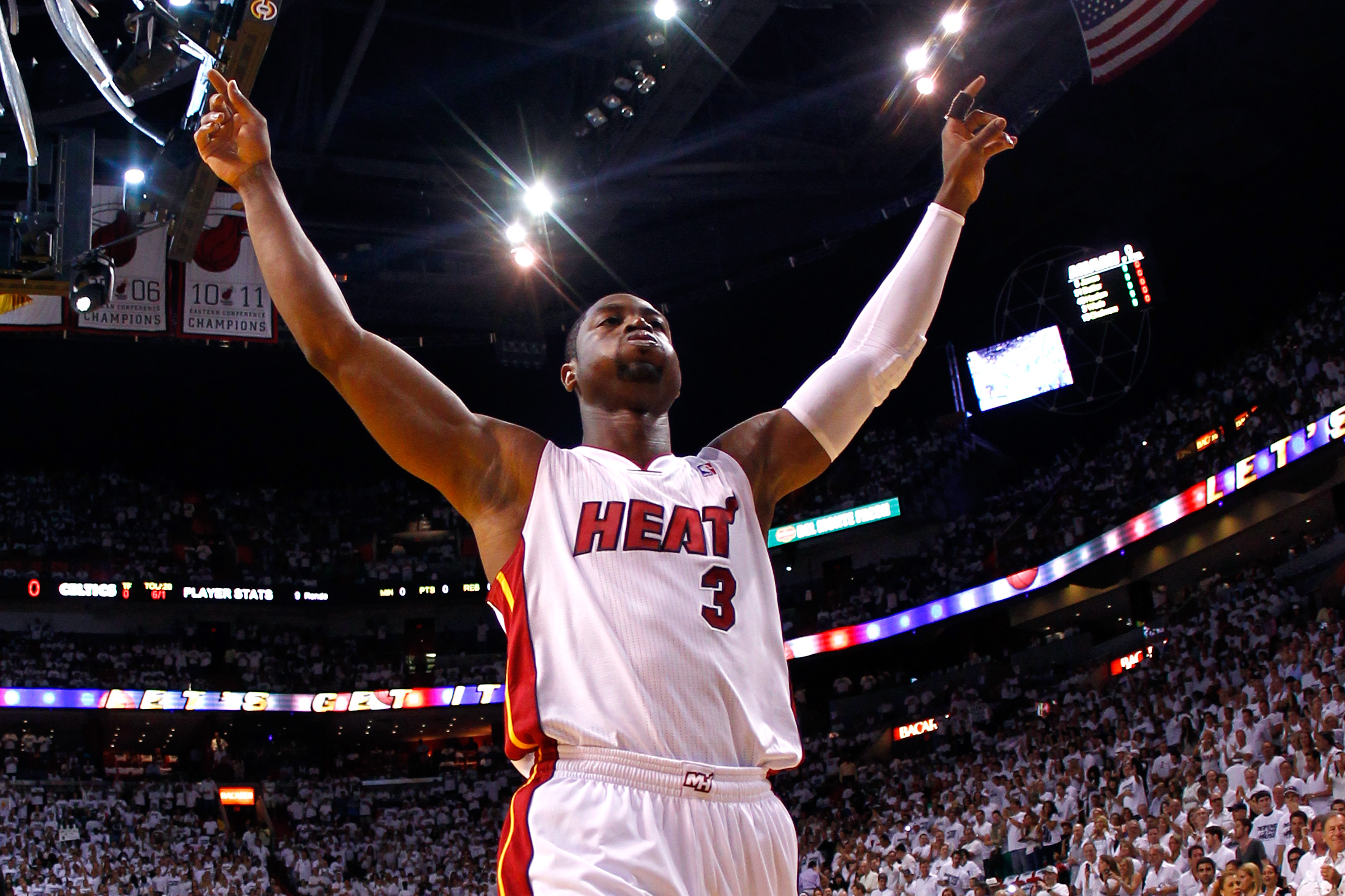 MIAMI, FL - JUNE 09:  Dwyane Wade #3 of the Miami Heat reacts before taking on the Boston Celtics in Game Seven of the Eastern Conference Finals in the 2012 NBA Playoffs on June 9, 2012 at American Airlines Arena in Miami, Florida. (Photo by Mike Ehrmann/