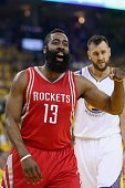 OAKLAND, CA - APRIL 27:  James Harden #13 of the Houston Rockets reacts during their game against the Golden State Warriors in Game Five of the Western Conference Quarterfinals during the 2016 NBA Playoffs at ORACLE Arena on April 27, 2016 in Oakland, Cal