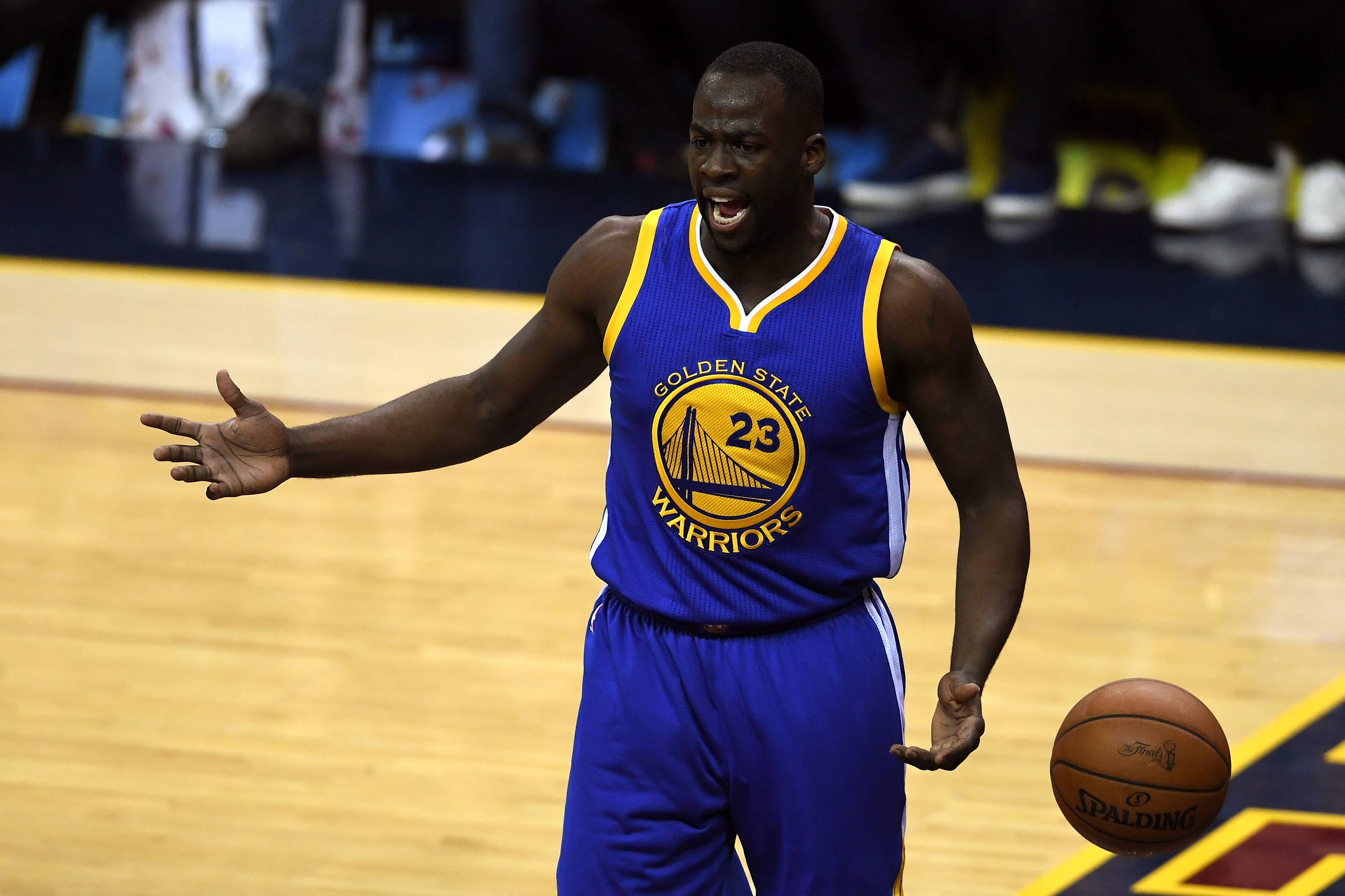 FILE - JULY 11, 2016: It was reported that Golden State Warriors forward Draymond Green was arrested for assault in East Lansing, Michigan July 11, 2016 CLEVELAND, OH - JUNE 16: Draymond Green #23 of the Golden State Warriors reacts to a call in the first