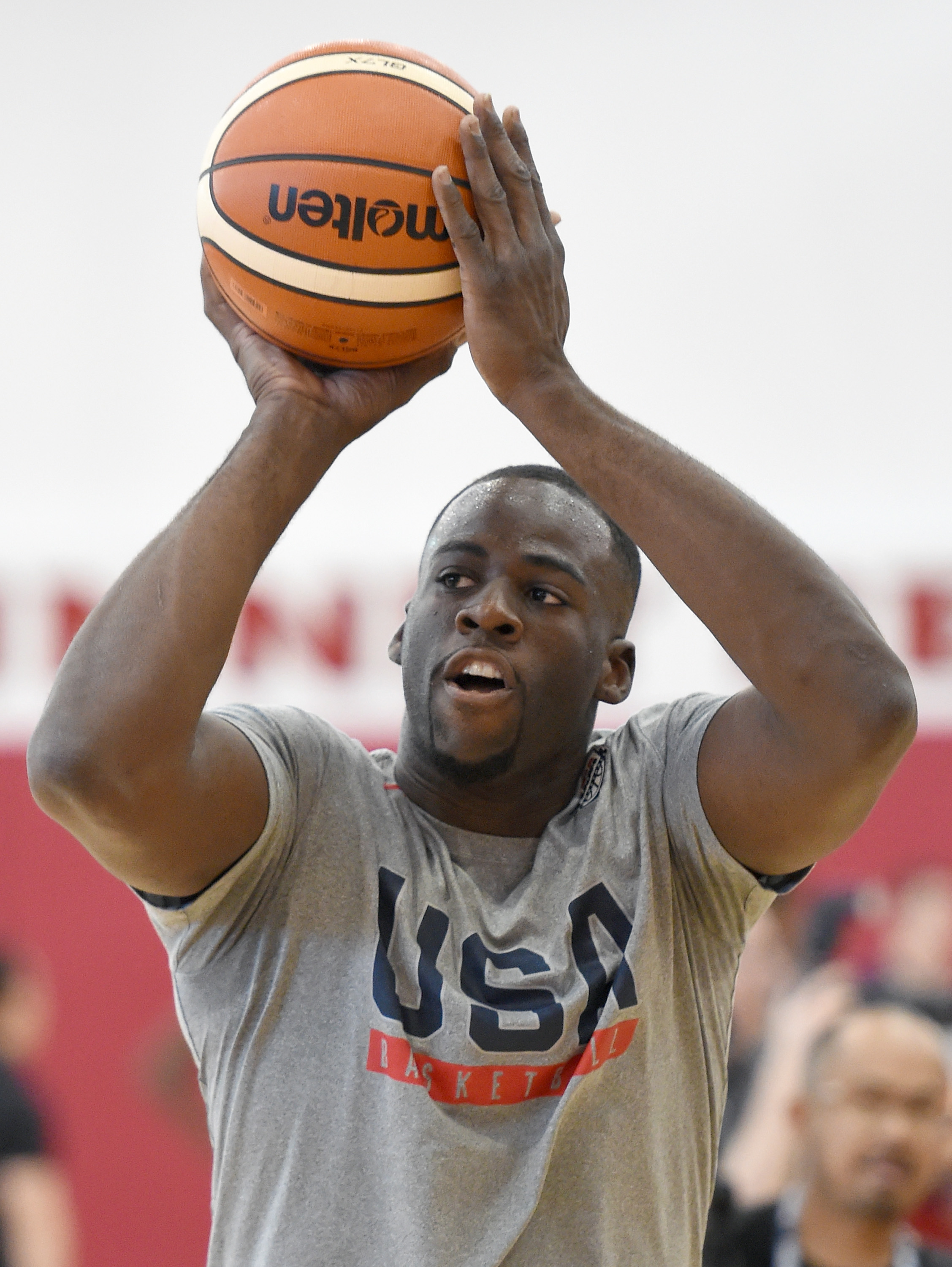 LAS VEGAS, NV - JULY 21:  Draymond Green #14 of the 2016 USA Basketball Men's National Team shoots during a practice session at the Mendenhall Center on July 21, 2016 in Las Vegas, Nevada.  (Photo by Ethan Miller/Getty Images)