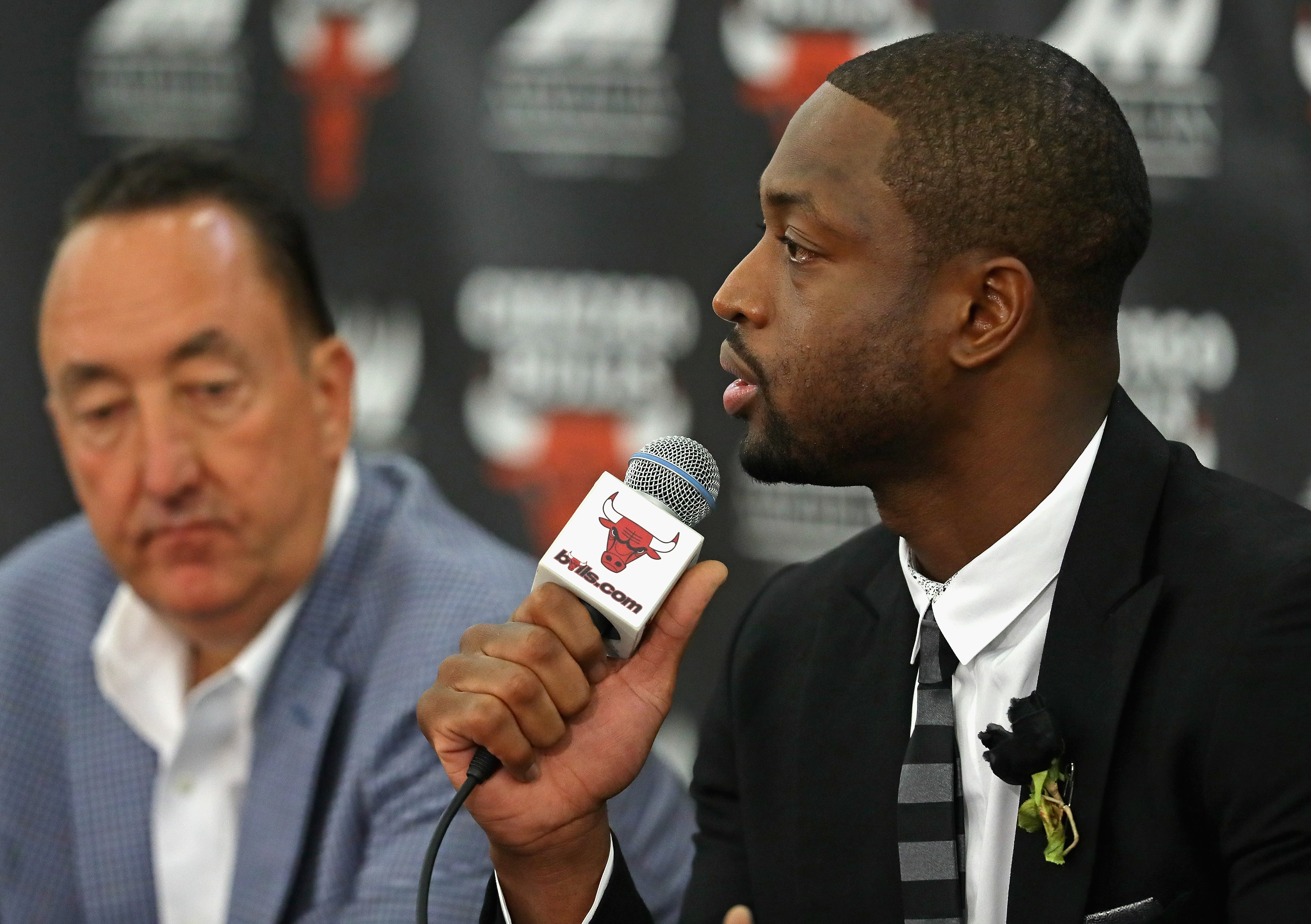 CHICAGO, IL - JULY 29:  General manager Gar Forman of the Chicago Bulls (L) listens as Dwyane Wade speaks during an introductory press conference at the Advocate Center on July 29, 2016 in Chicago, Illinois.  (Photo by Jonathan Daniel/Getty Images)