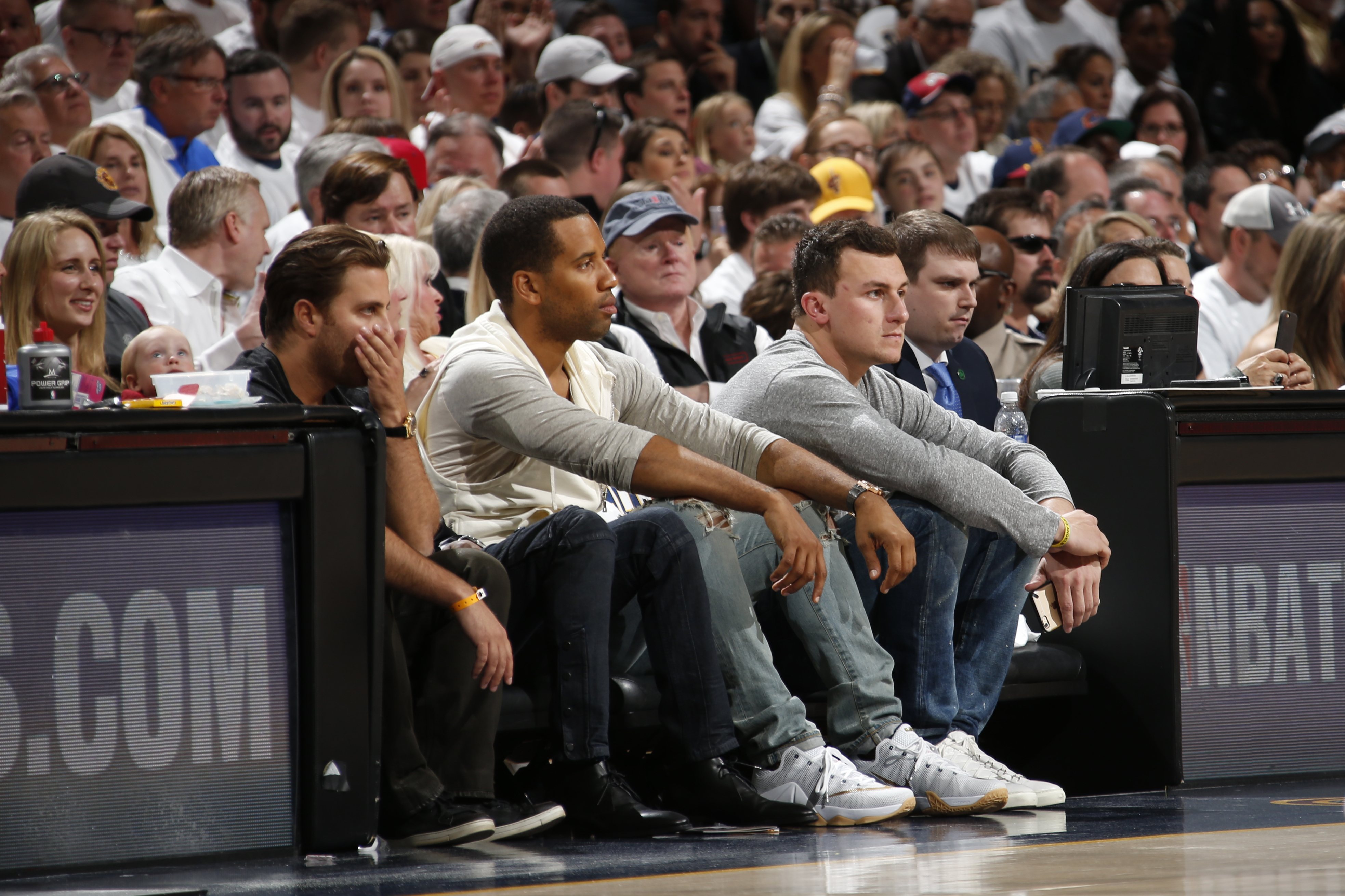 CLEVELAND, OH - APRIL 19:  Cleveland Brown Johnny Manziel attends the game between the Boston Celtics and Cleveland Cavaliers during Game One of the Eastern Conference Quarterfinals of the NBA Playoffs at The Quicken Loans Arena on April 19, 2015 in Cleve