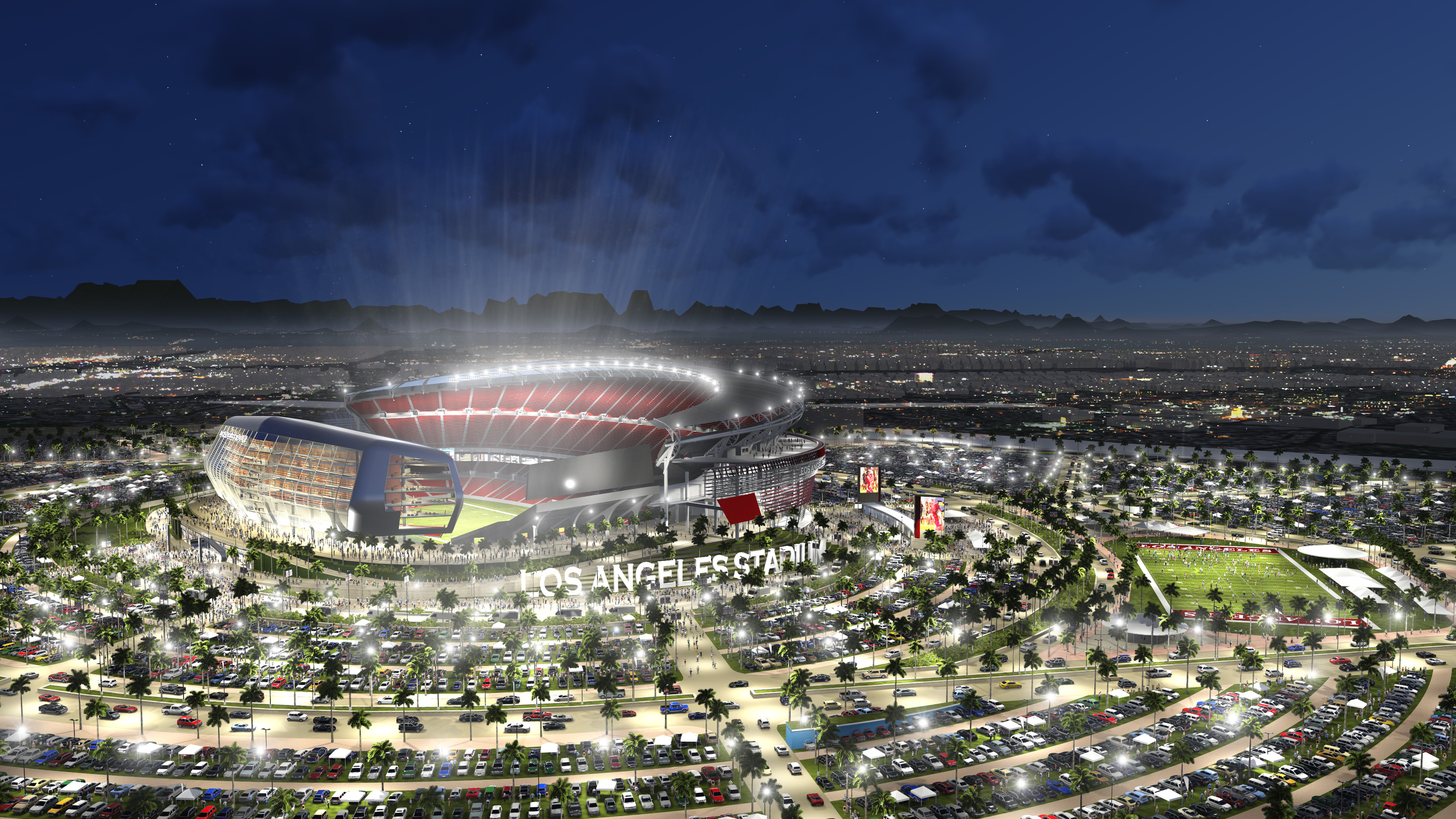 This undated artist rendering provided by MANICA Architecture shows an artist's rendering of a newly proposed NFL stadium in the city of Carson, Calif. The Oakland Raiders and San Diego Chargers are jointly planning a shared stadium if both teams fail to