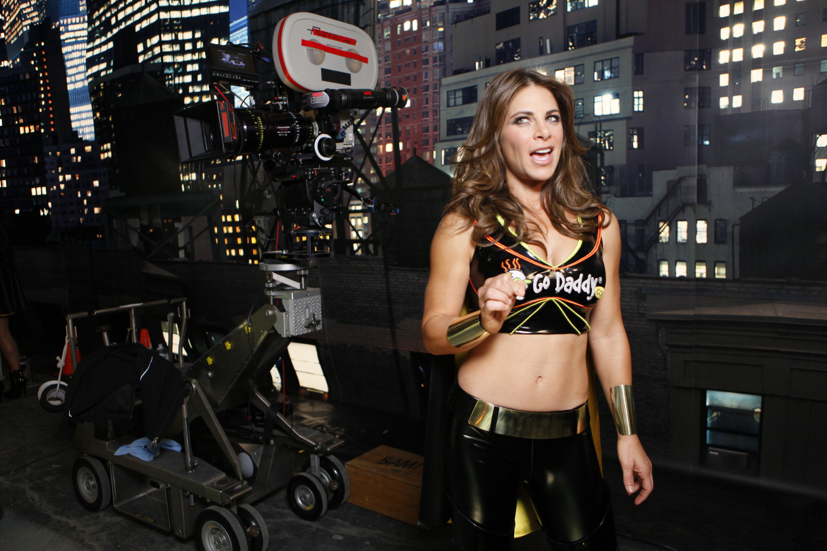 "FILE - In this photo taken Dec. 6, 2010, GoDaddy.com girl Jillian Michaels, fitness trainer & ""Biggest Loser"" celebrity, is seen during the filming production of a 2010 Super Bowl television commercial for ""GoDaddy.com"" at the Delfino Studios in Sylmar, C"