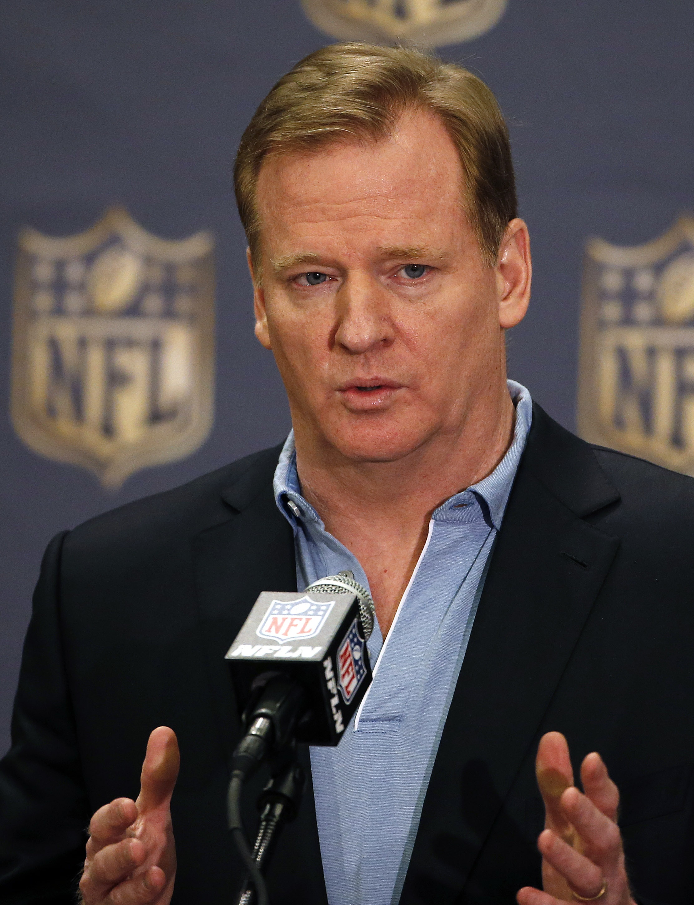 NFL Commissioner Roger Goodell answers a question at a news conference during the NFL Annual Meeting Wednesday, March 25, 2015, in Phoenix. (AP Photo/Ross D. Franklin)