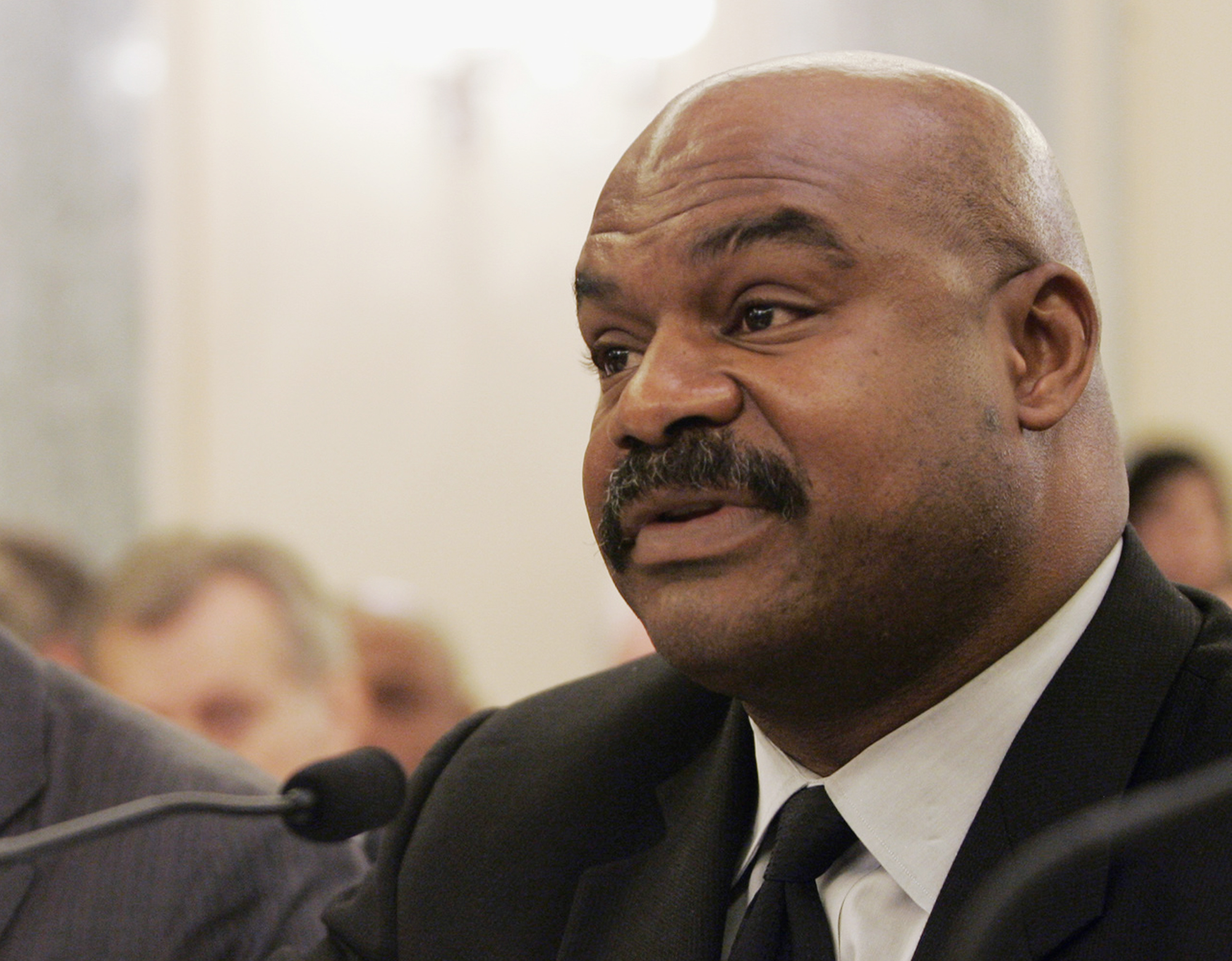 FILE - In this Sept. 18, 2007 file photo, former Chicago Bears safety Dave Duerson, a trustee for the Burt Bell/Pete Rozell NFL Player Retirement Plan, testifies on Capitol Hill in Washington. The family of the late NFL safety plans to appeal terms of thi