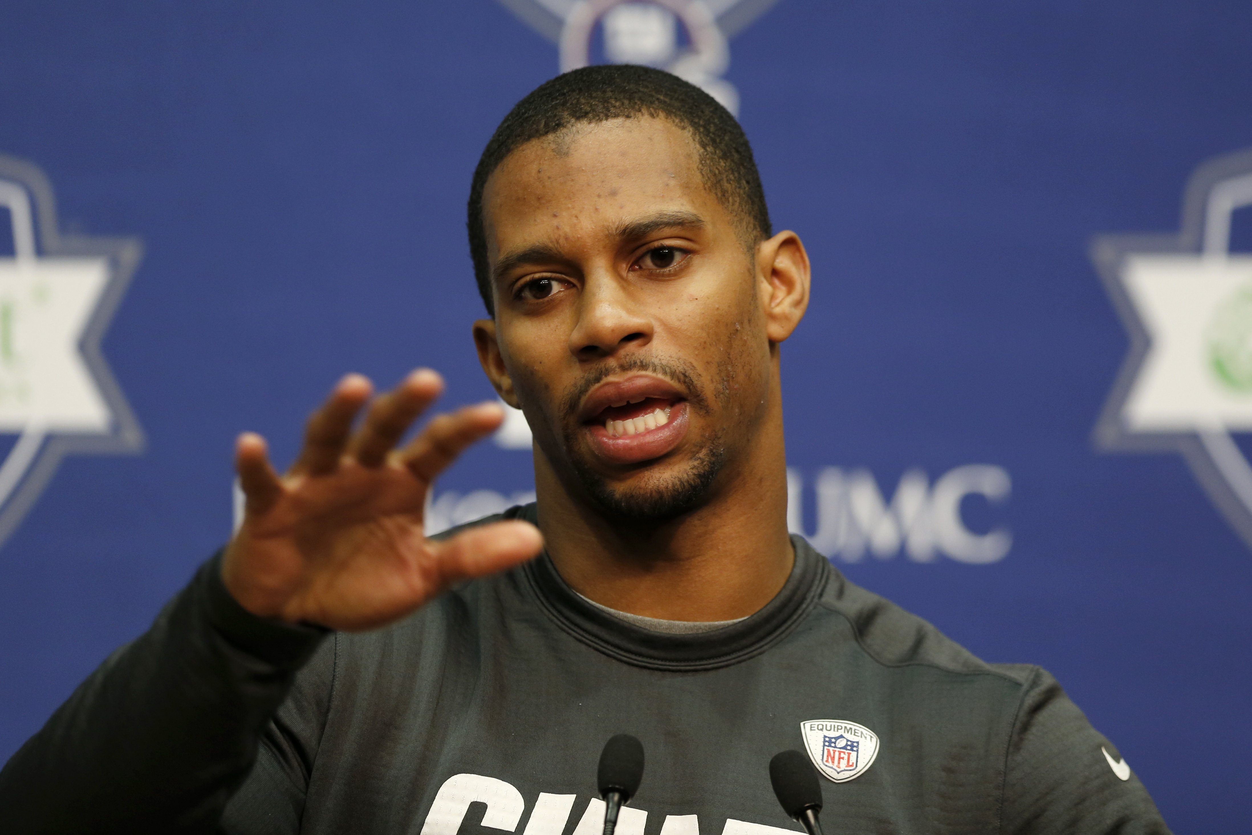 New York Giants wide receiver Victor Cruz talks during an NFL football news conference, Thursday, April 23, 2015, in East Rutherford, N.J. (AP Photo/Julio Cortez)