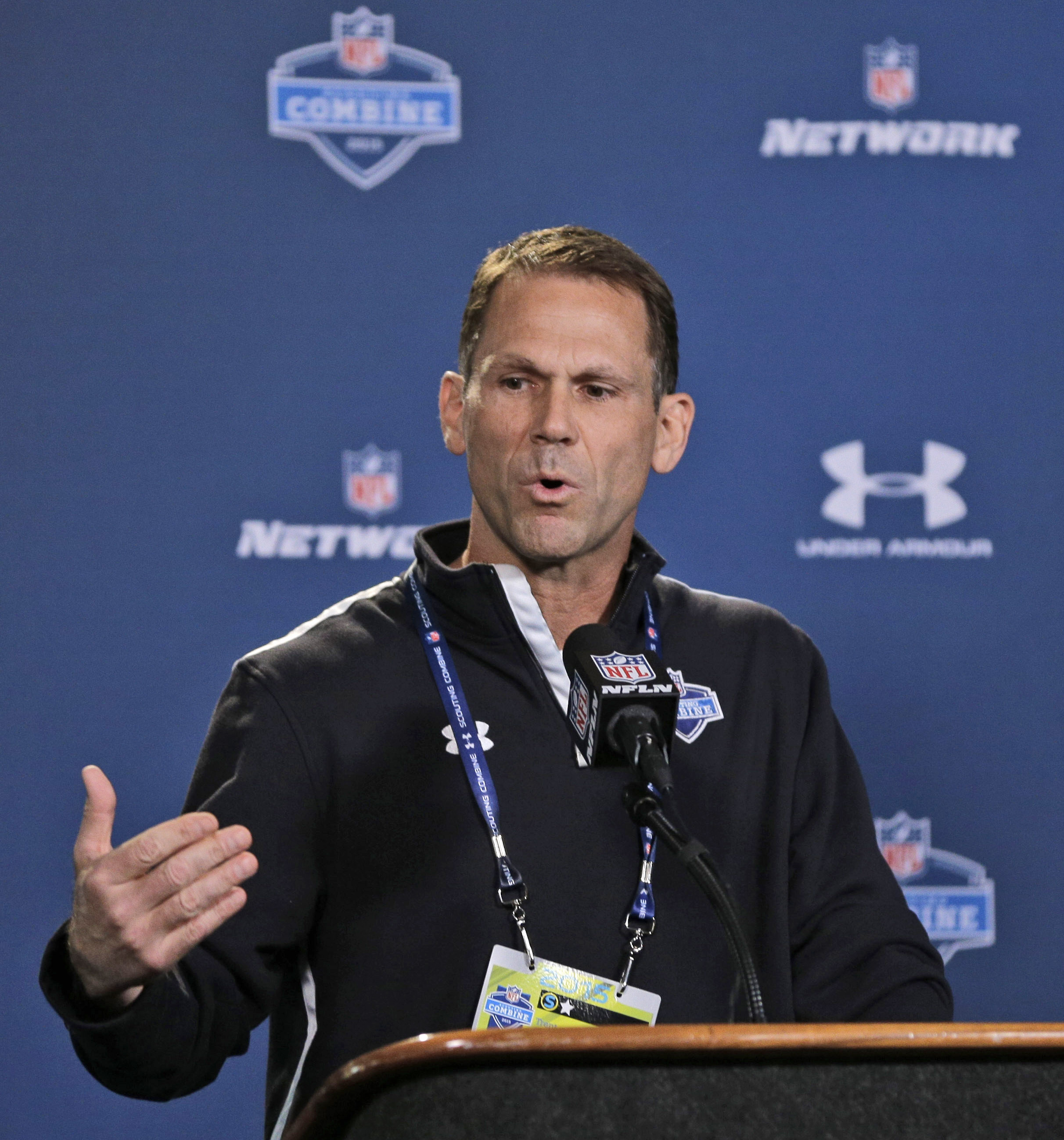 FILE - In this Feb. 18, 2015, file photo, San Francisco 49ers general manager Trent Baalke answers a question during a news conference at the NFL football scouting combine in Indianapolis. Given a rash of off-field issues in recent years, Baalke now faces