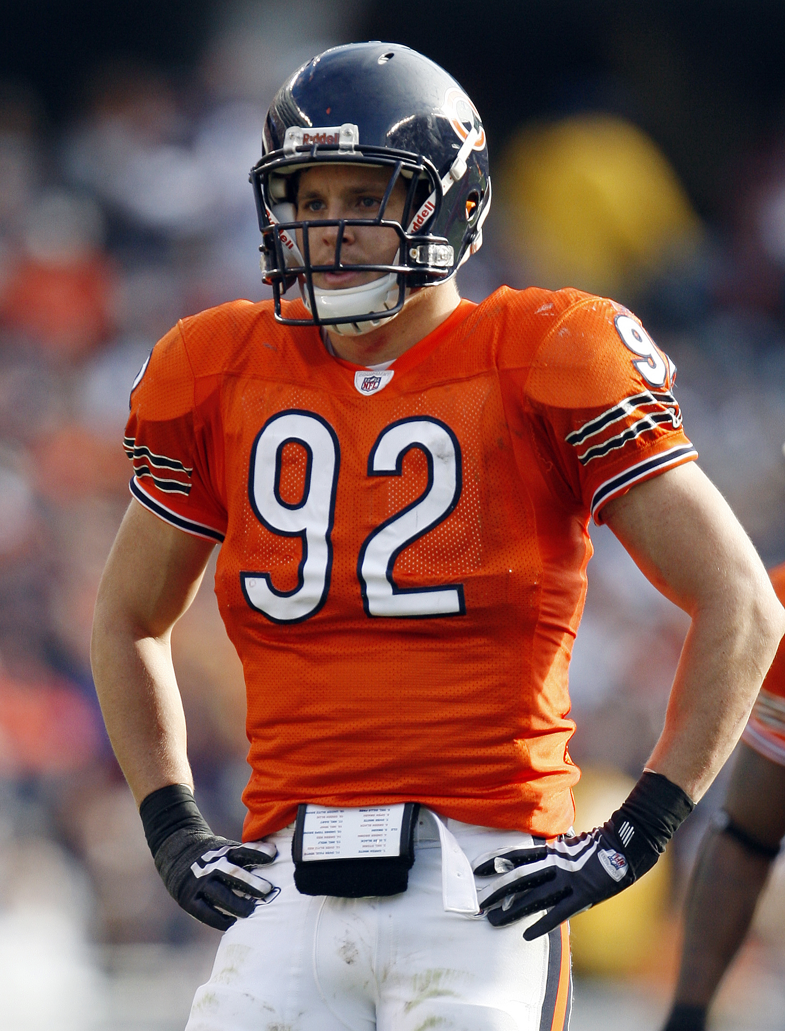 FILE - In this Nov. 1, 2009, file photo, Chicago Bears linebacker Hunter Hillenmeyer gets ready during an NFL football game against the Cleveland Browns in Chicago. The Ohio Supreme Court has found unconstitutional the method that Cleveland uses for taxin