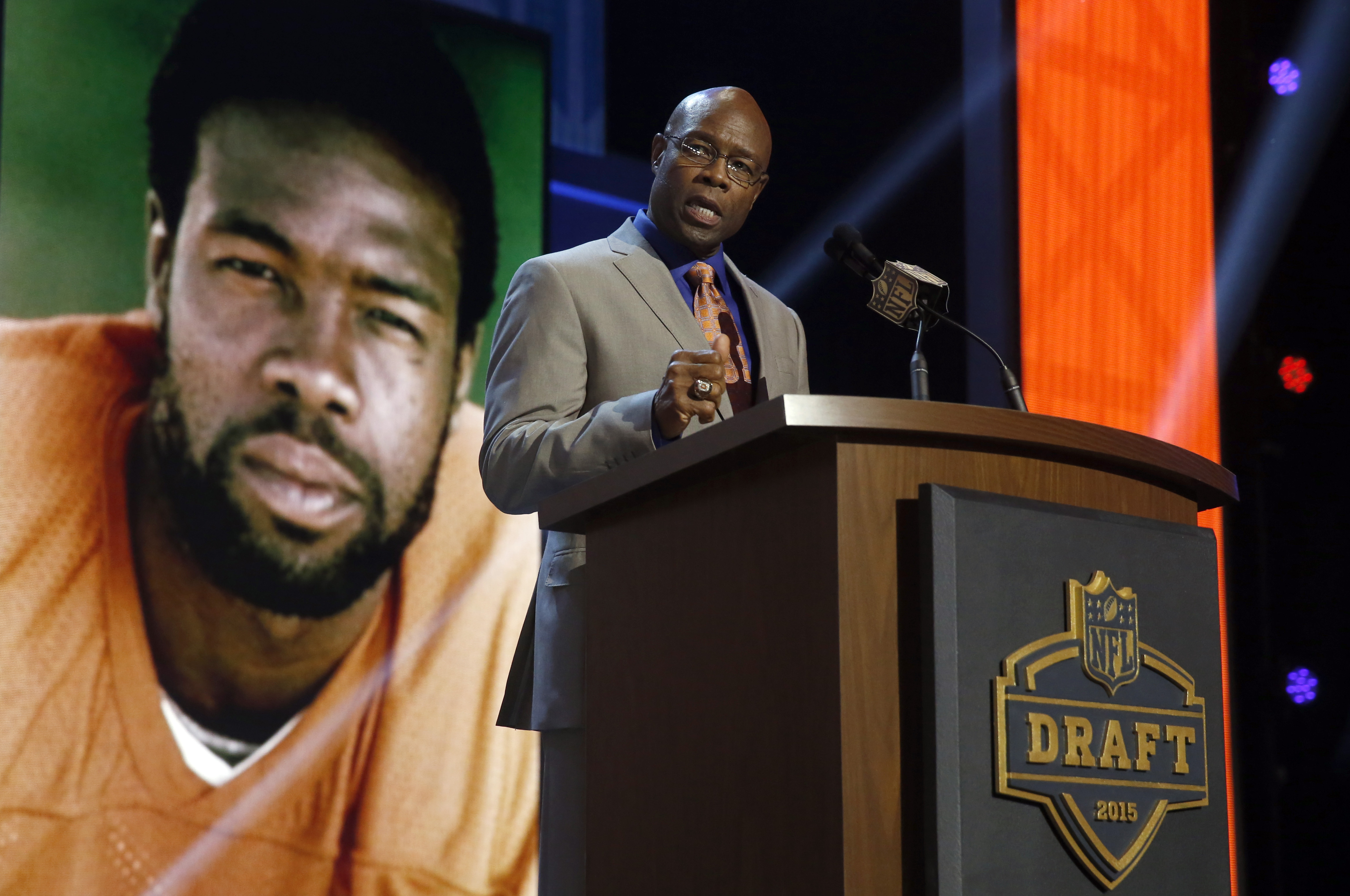 Former Denver Broncos player Rick Upchurch announces that the Denver Broncos selects Colorado State offensive lineman Ty Sambrailo as the 59th pick in the second round of the 2015 NFL Football Draft,  Friday, May 1, 2015, in Chicago. (AP Photo/Charles Rex