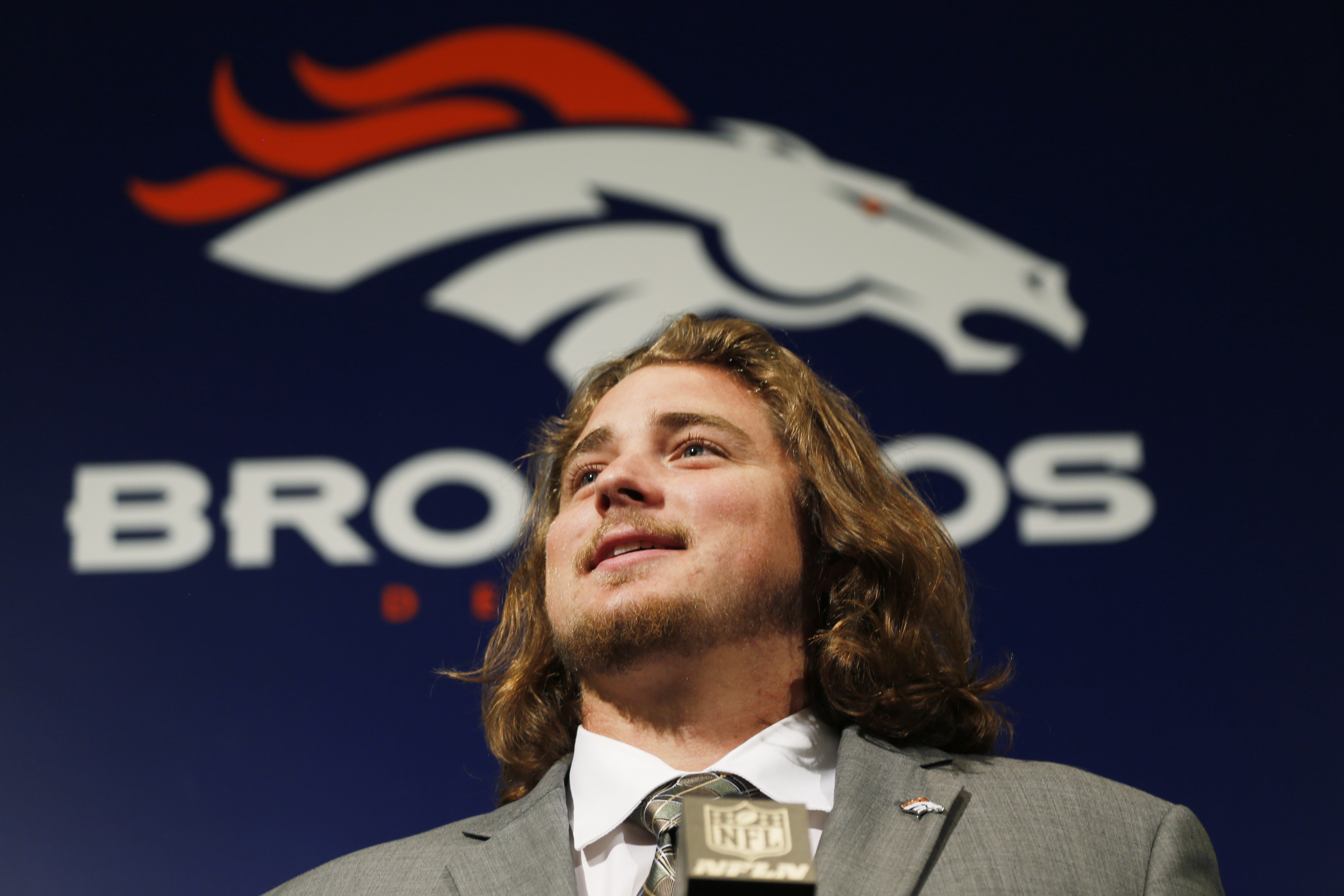 Former Colorado State offensive lineman Ty Sambrailo, the Denver Broncos second-round pick in the NFL Draft, talks during an NFL football news conference Saturday, May 2, 2015, in Englewood, Colo. (AP Photo/David Zalubowski)