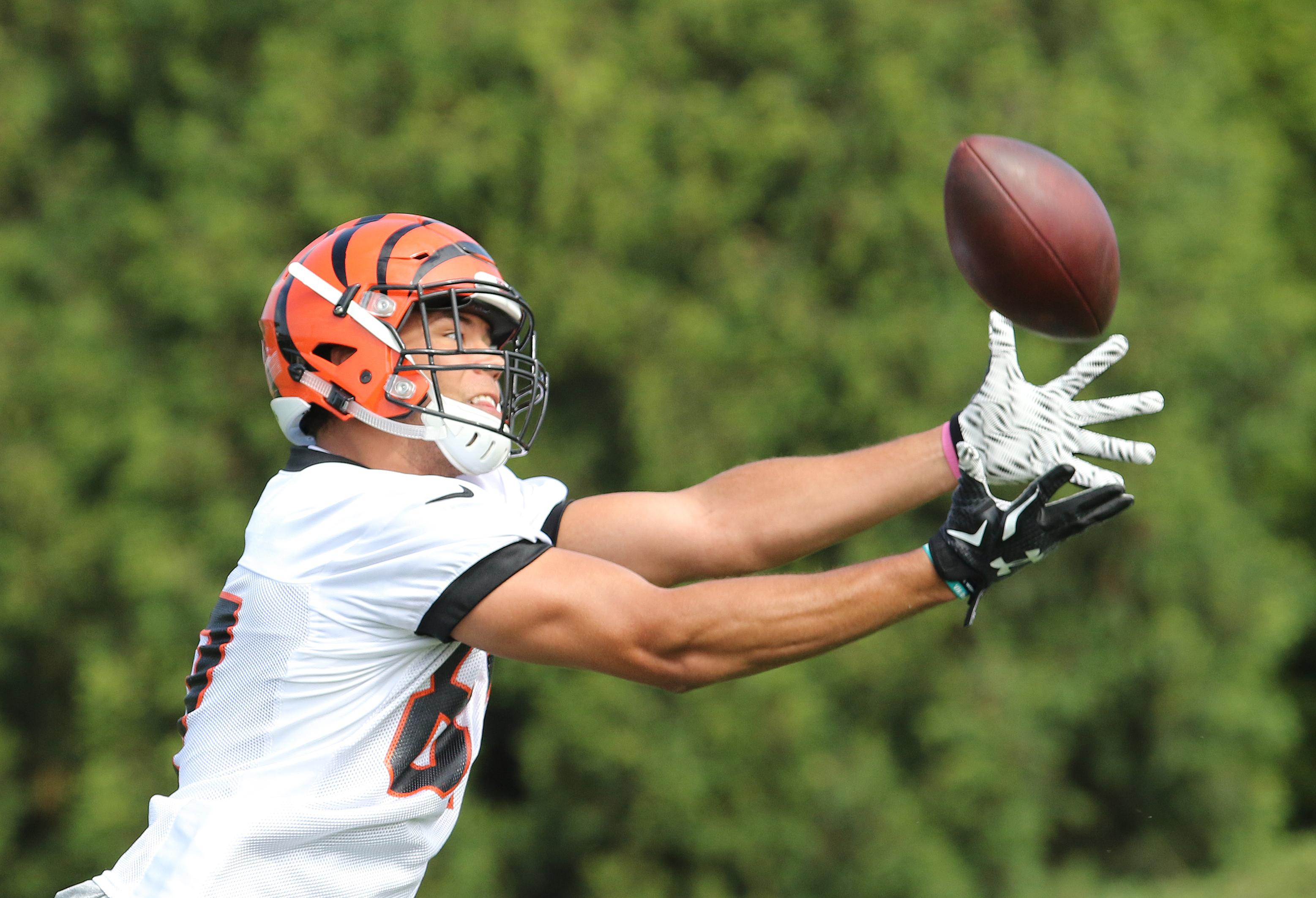 Cincinnati Bengals C.J. Uzomah catches a pass during their NFL football rookie minicamp Saturday, May 9, 2015, in Cincinnati. (AP Photo/Gary Landers)