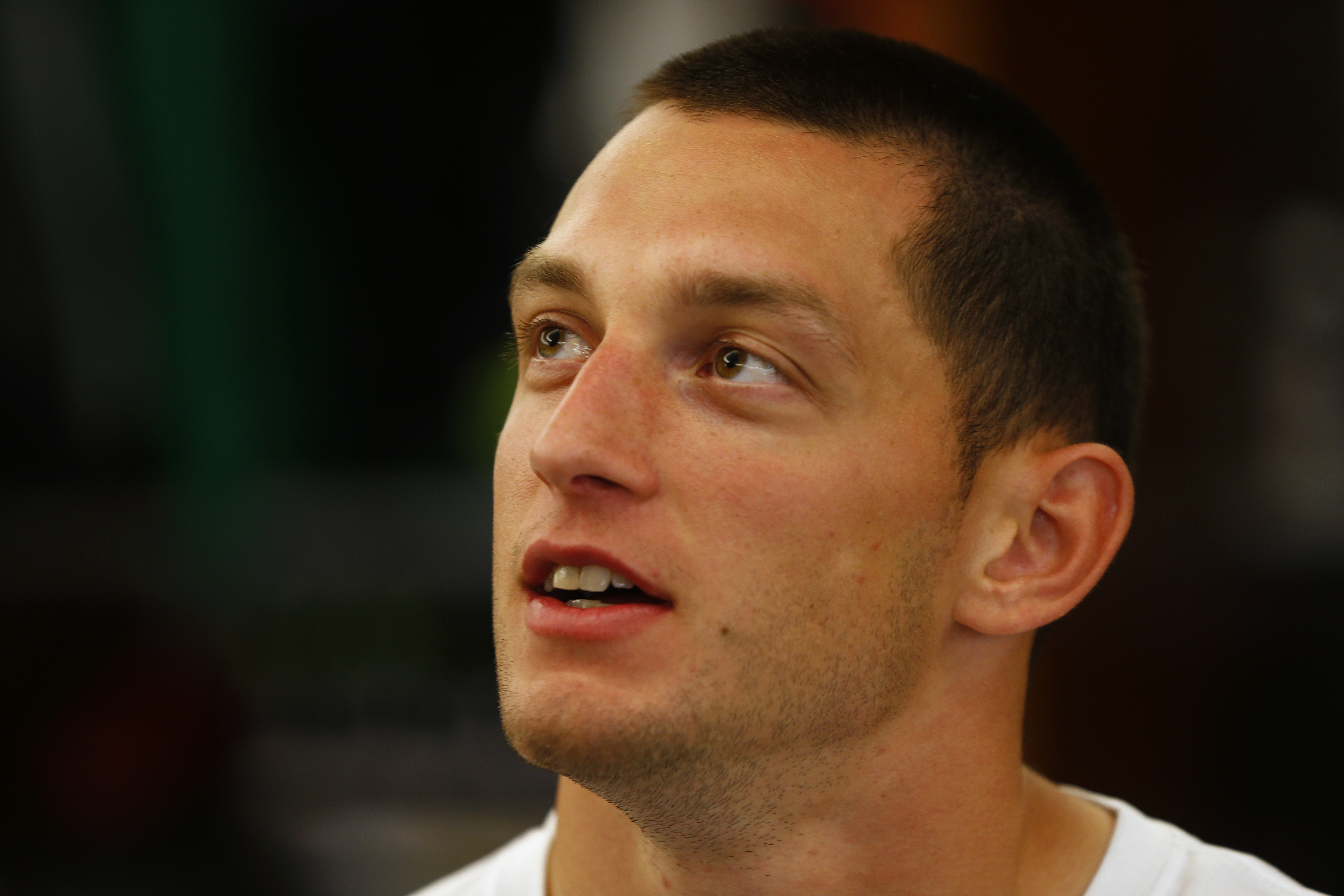 New York Jets safety Ty Zimmerman talks to the media before practice at the team's NFL football rookie minicamp, Saturday, May 9, 2015, in Florham Park, N.J. (AP Photo/Rich Schultz)