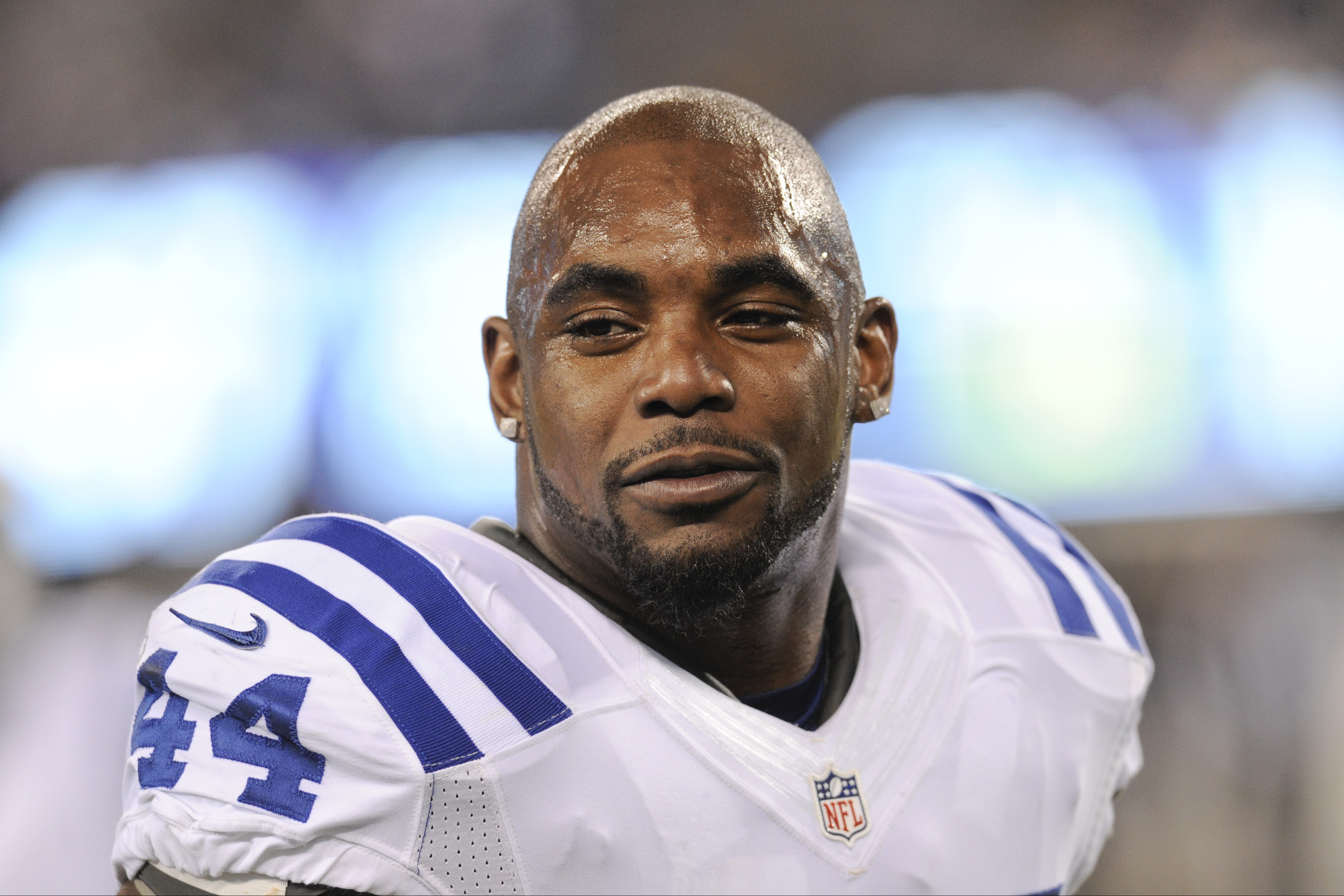FILE - This Nov. 3, 2014, file photo shows Indianapolis Colts running back Ahmad Bradshaw (44) before an NFL football game against the New York Giants in East Rutherford, N.J. Bradshaw, a veteran NFL running back has pleaded no contest and paid a fine to