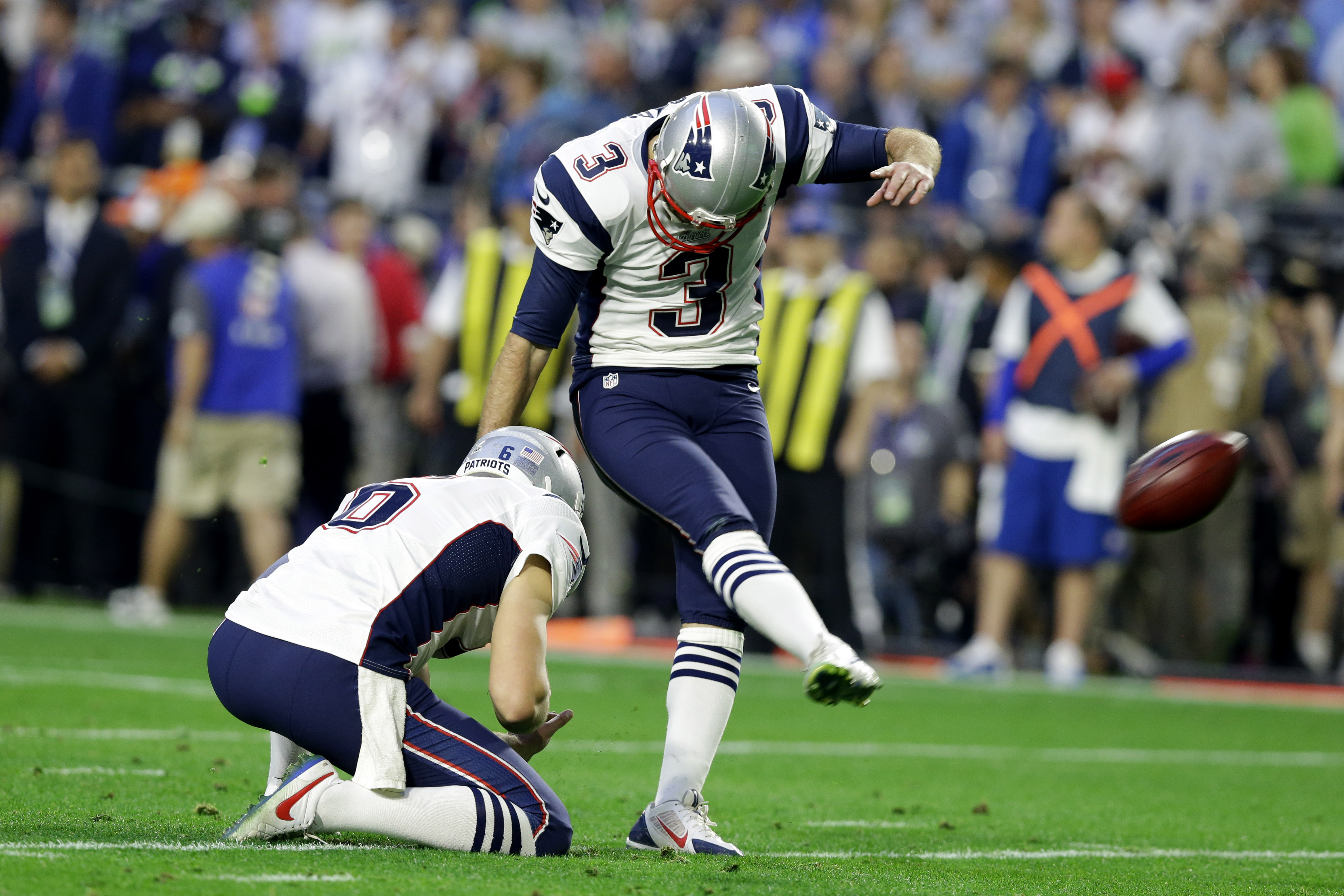 FILE - In this Feb. 1, 2015, file photo, New England Patriots kicker Stephen Gostkowski (3) makes the extra point after a touchdown against the Seattle Seahawks during the first half of NFL Super Bowl XLIX football game in Glendale, Ariz. While team owner