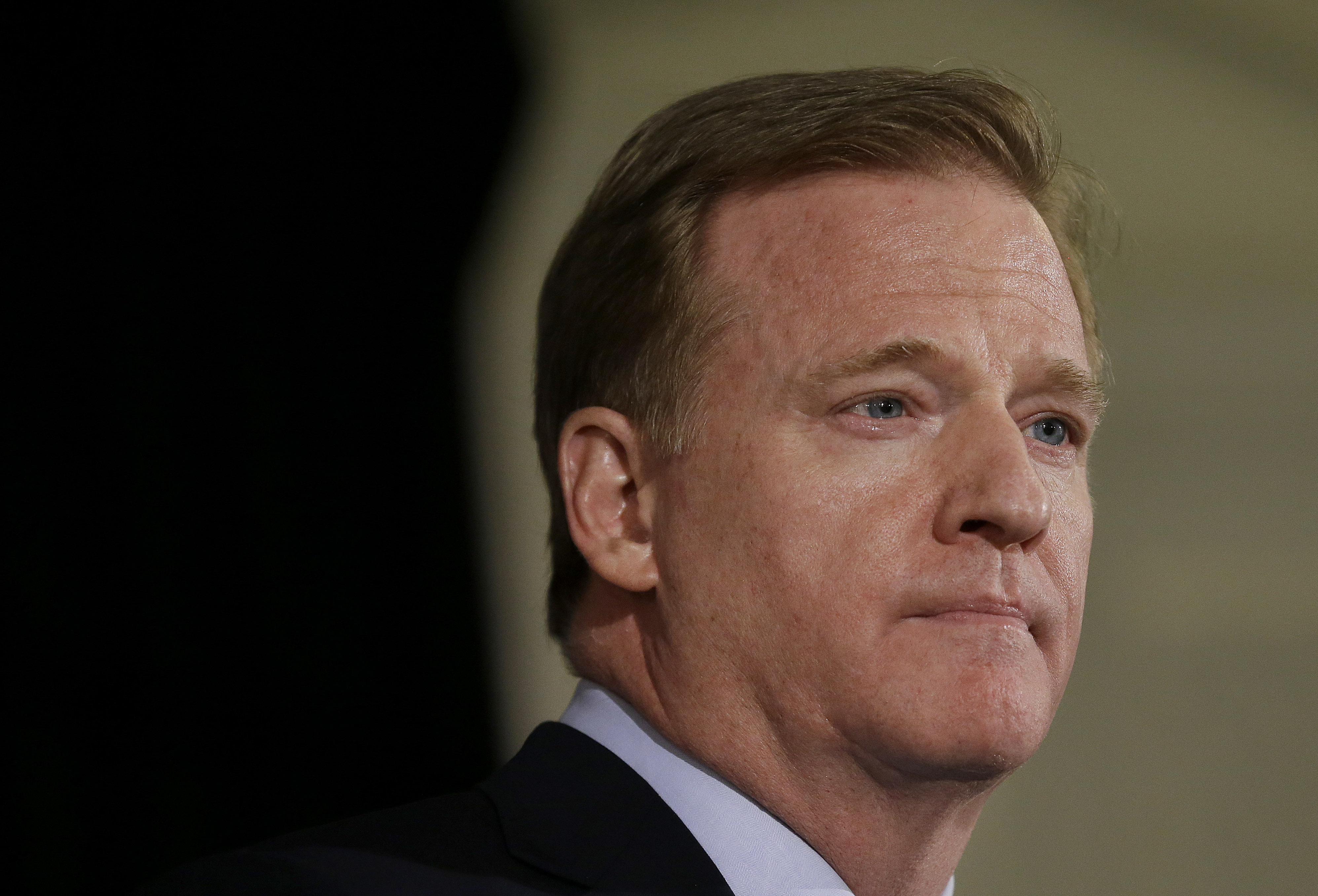 NFL Commissioner Roger Goodell speaks to reporters during the NFL's spring meetings in San Francisco, Wednesday, May 20, 2015. (AP Photo/Jeff Chiu)