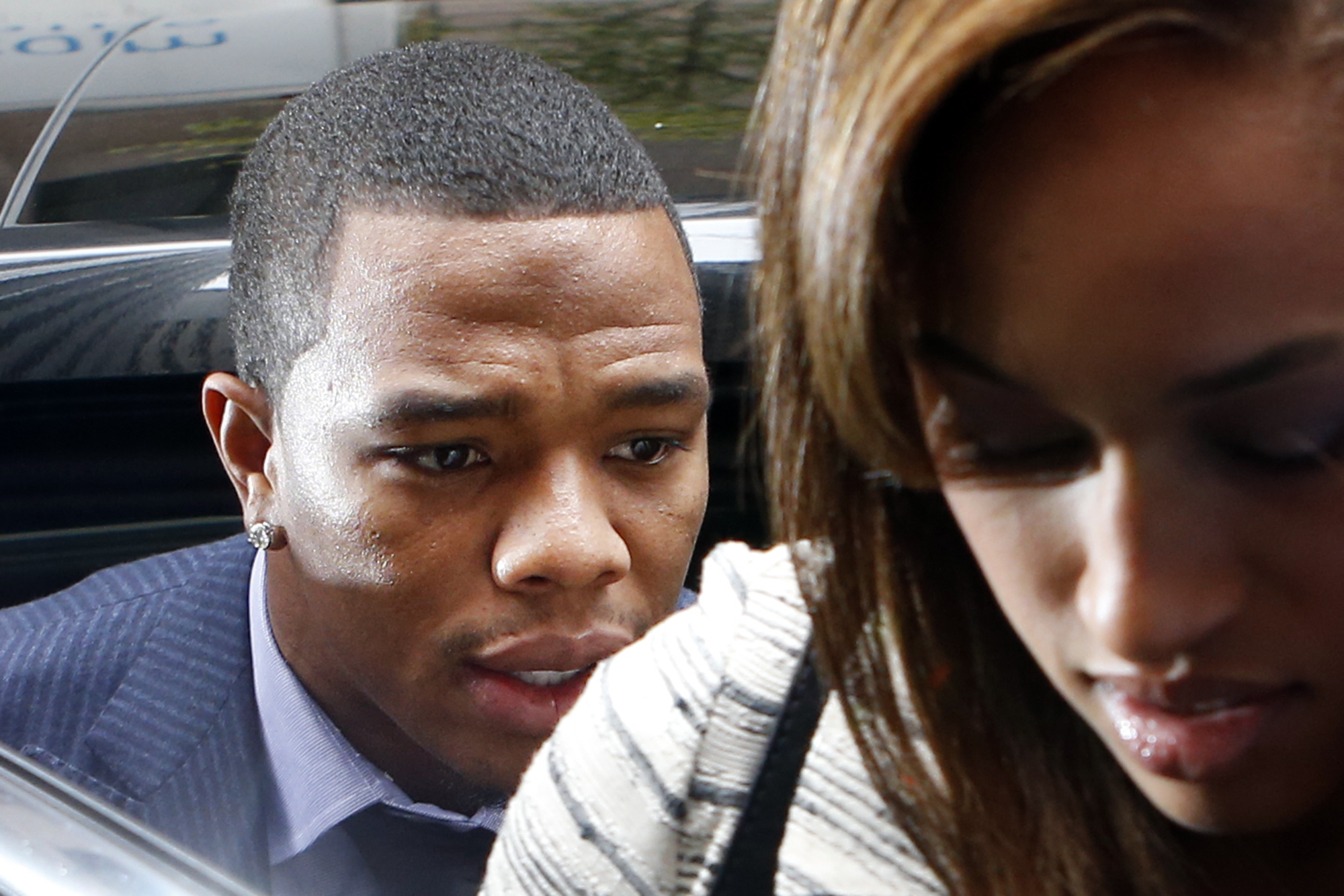 "FILE - In this Nov. 5, 2014, file photo Ray Rice arrives with his wife Janay Palmer for an appeal hearing of his indefinite suspension from the NFL in New York. Ex-Ravens player Ray Rice has posted a statement apologizing to fans for a ""horrible mistake"""